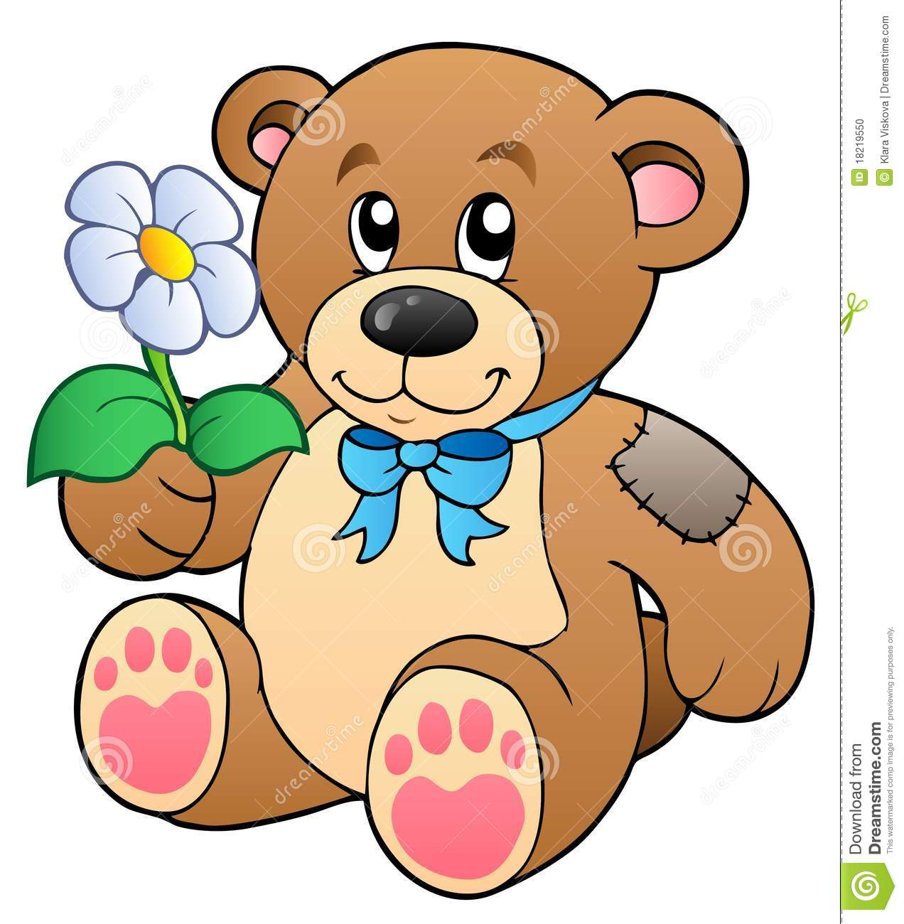 Cute Teddy Bear With Flower Stock Photo - Image: 18219550