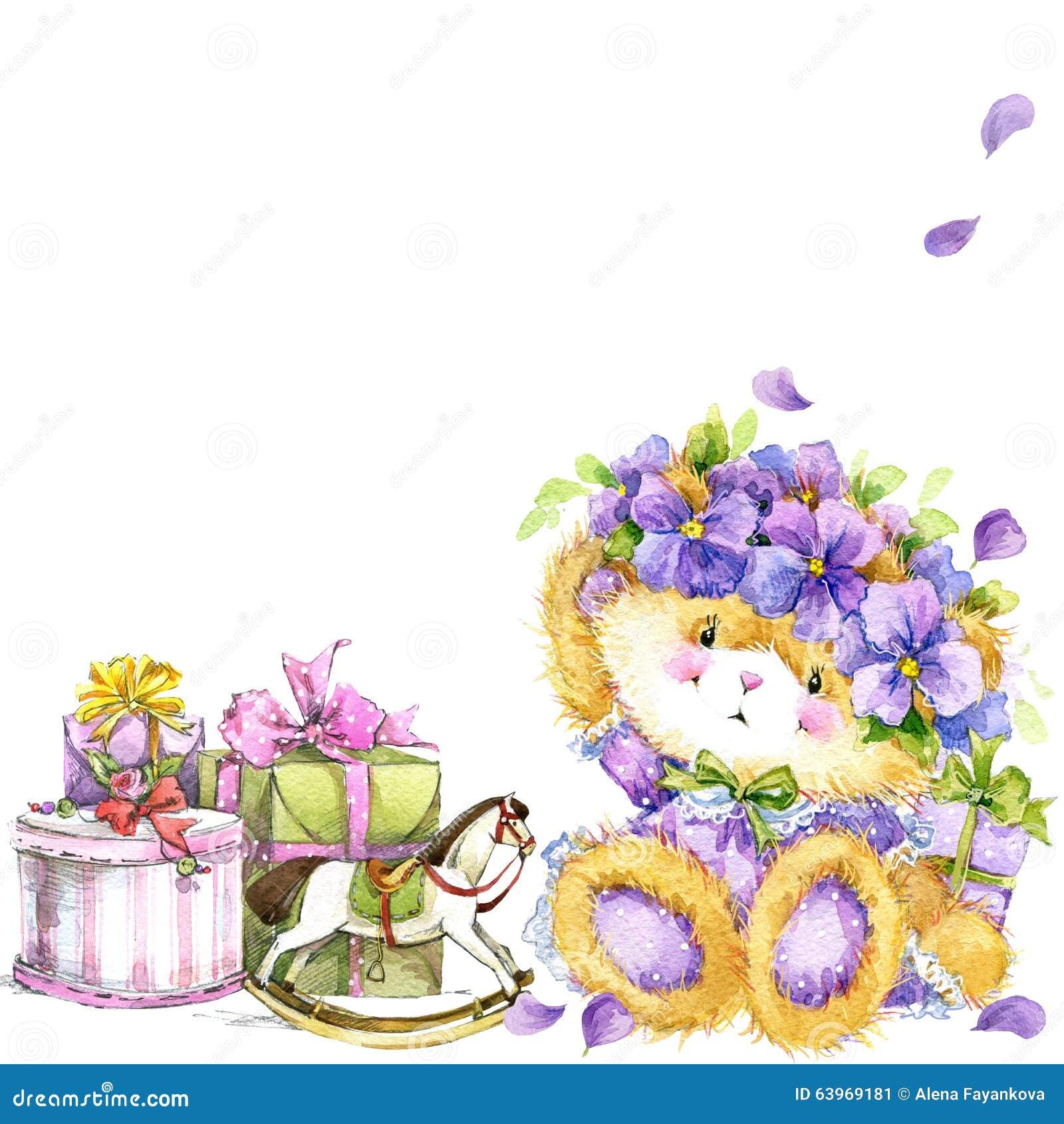 Cute Teddy Bear And Flower Violet Background Watercolor Teddy Bear