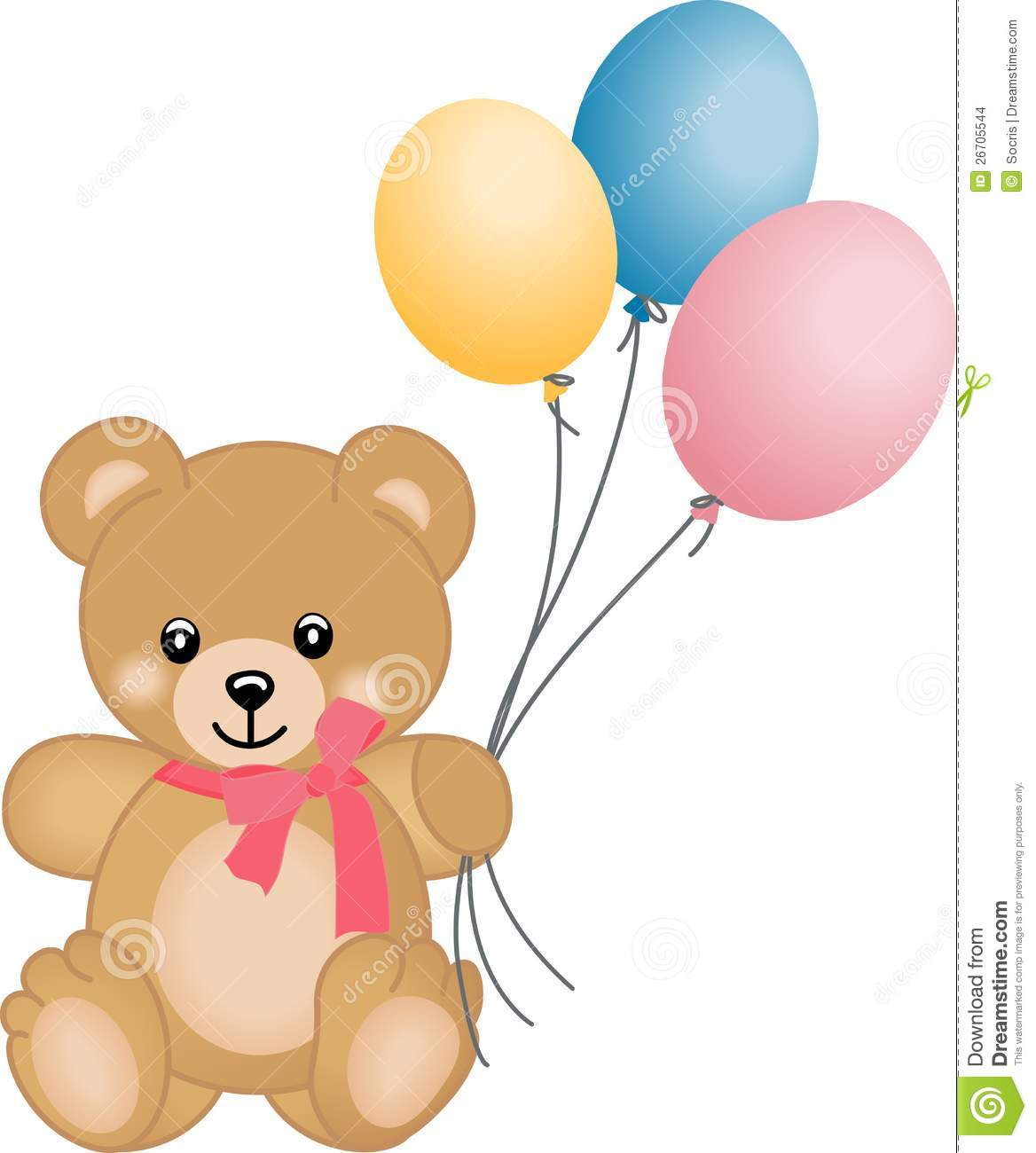 ... representing a cute teddy bear flying balloons, isolated on white
