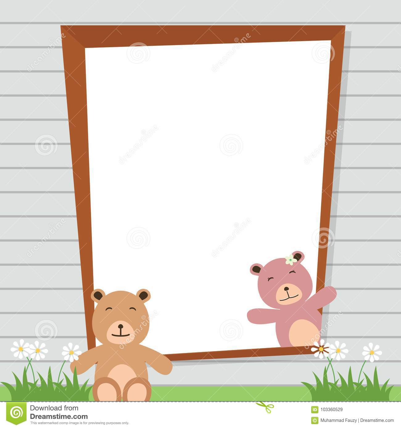 Cute Teddy Bear Frame stock vector. Illustration of doll - 103360529