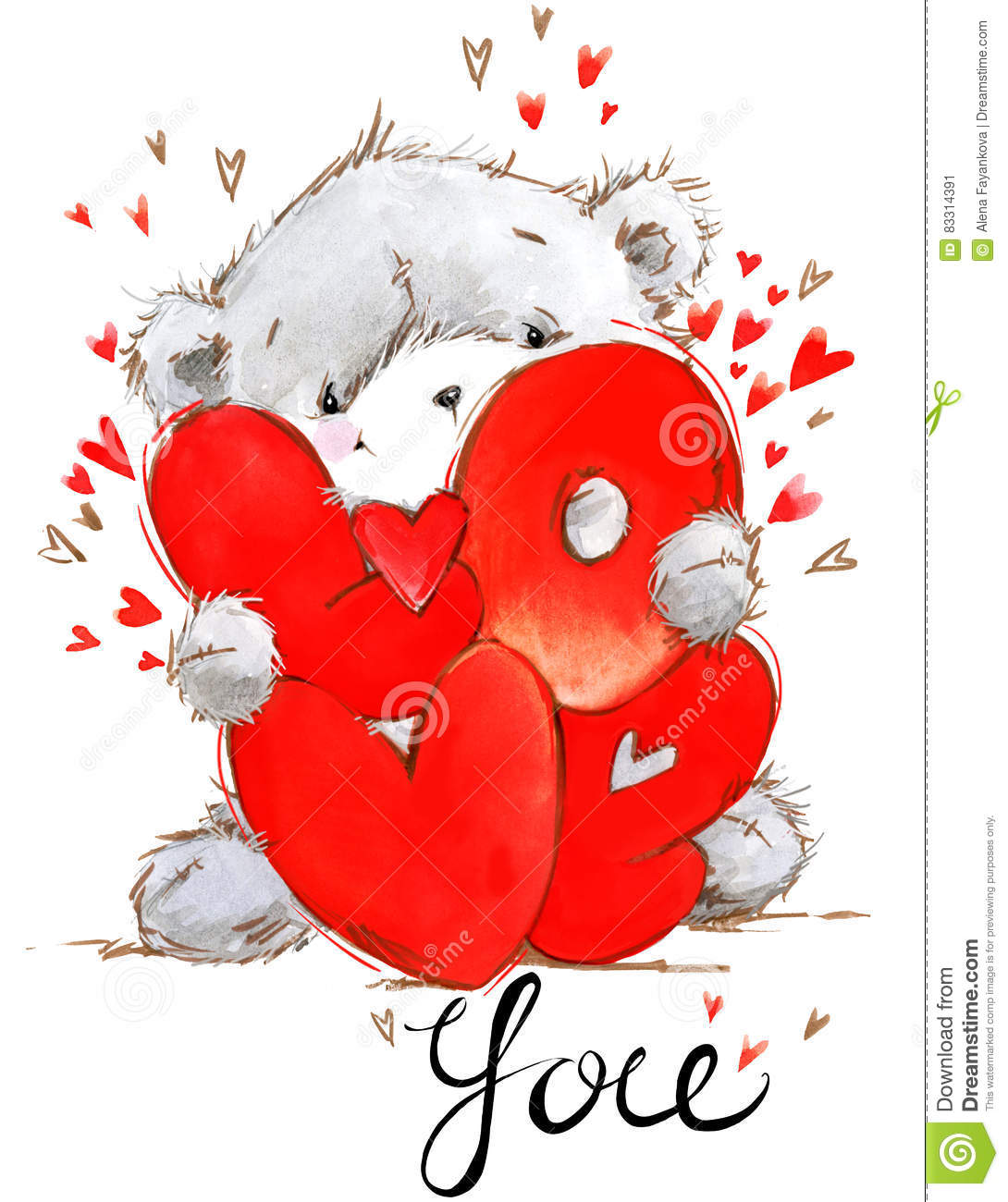 Cute Teddy Bear Love You Card Valentines Day Watercolor – Teddy Bear Valentines Day Card