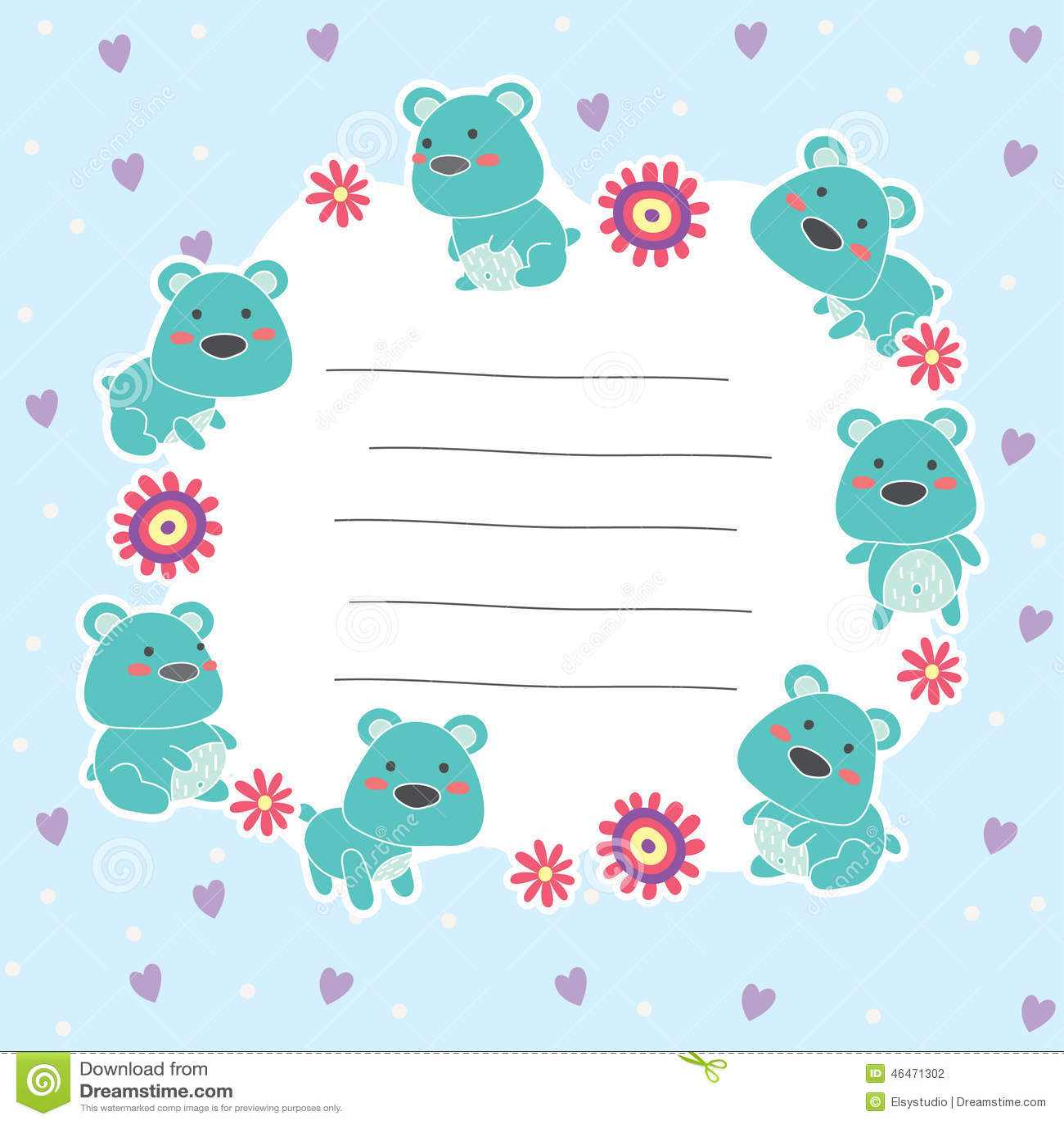 cute teddy bear memo layout design stock vector image 46471302 cute teddy bear memo layout design