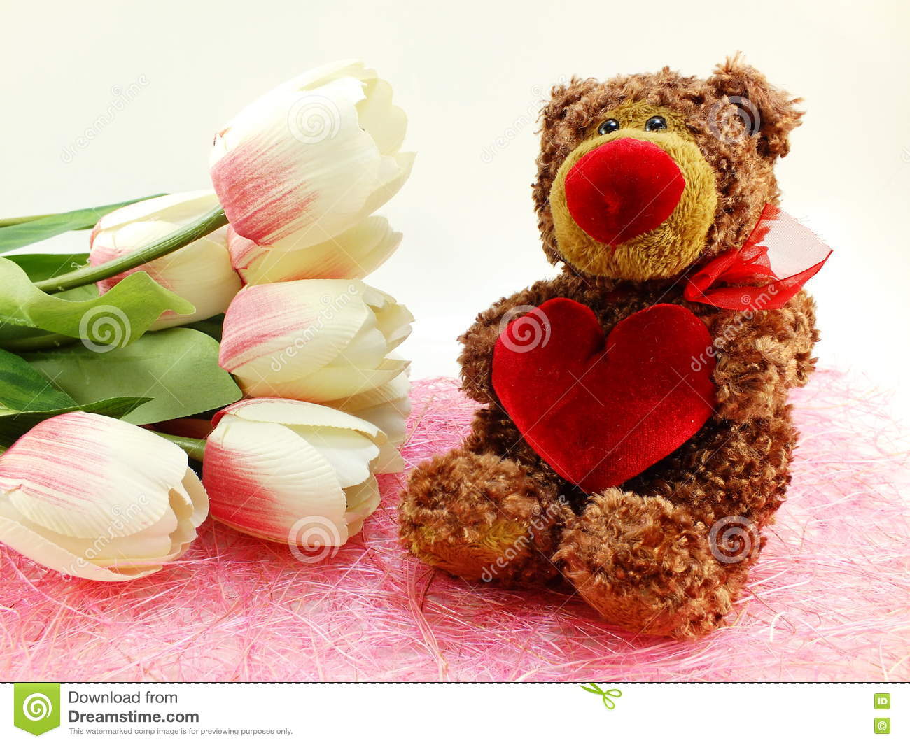Cute teddy bear with red heart and tulip artificial flowers stock download cute teddy bear with red heart and tulip artificial flowers stock image image of izmirmasajfo