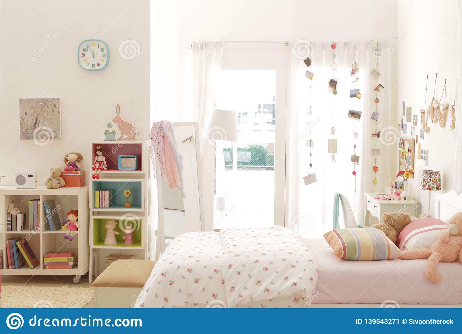 Cute Teen Girl Bedroom With Decoration 5 Stock Image - Image ...