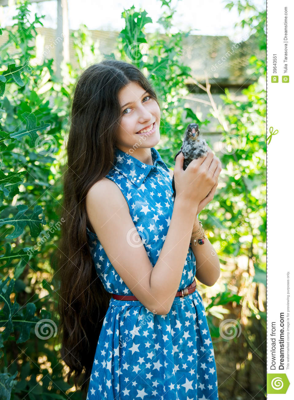 Cute teen girl with chicken stock photo image 39643551 Cute teenage girls pics