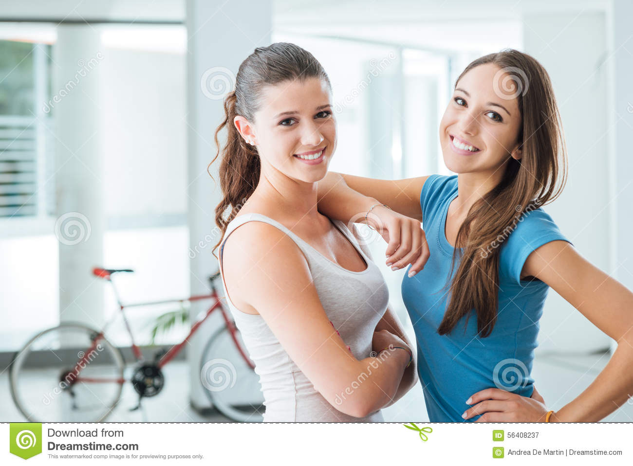 Cute teen girls smiling at camera stock photo image Cute teenage girls pics