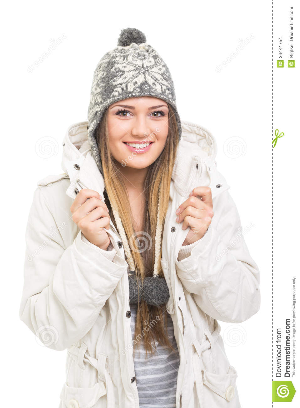 Teenage Caucasian Girl15 Years Old Sitting Outdoors: Cute Teenage Girl With Beanie Hat And Jacket Smiling Stock