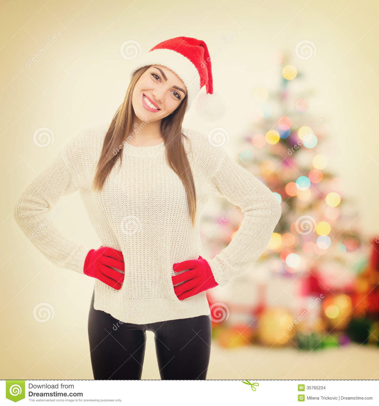 Cute teenage girl celebrating new year at home stock Cute teenage girls pics