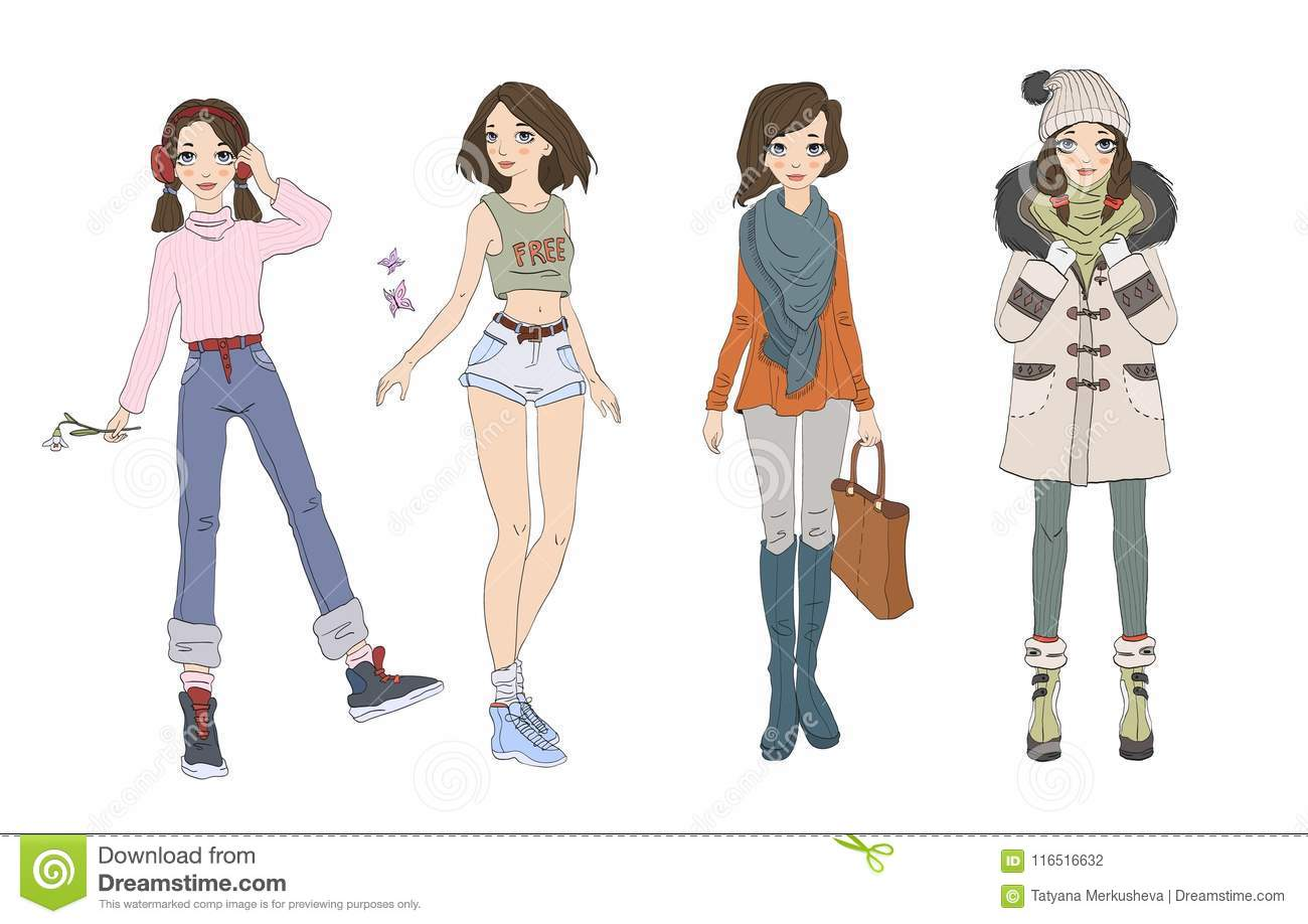 dd86de28b5 Cute Teenage Girl In Different Seasons Outfits. Clothes For Four ...