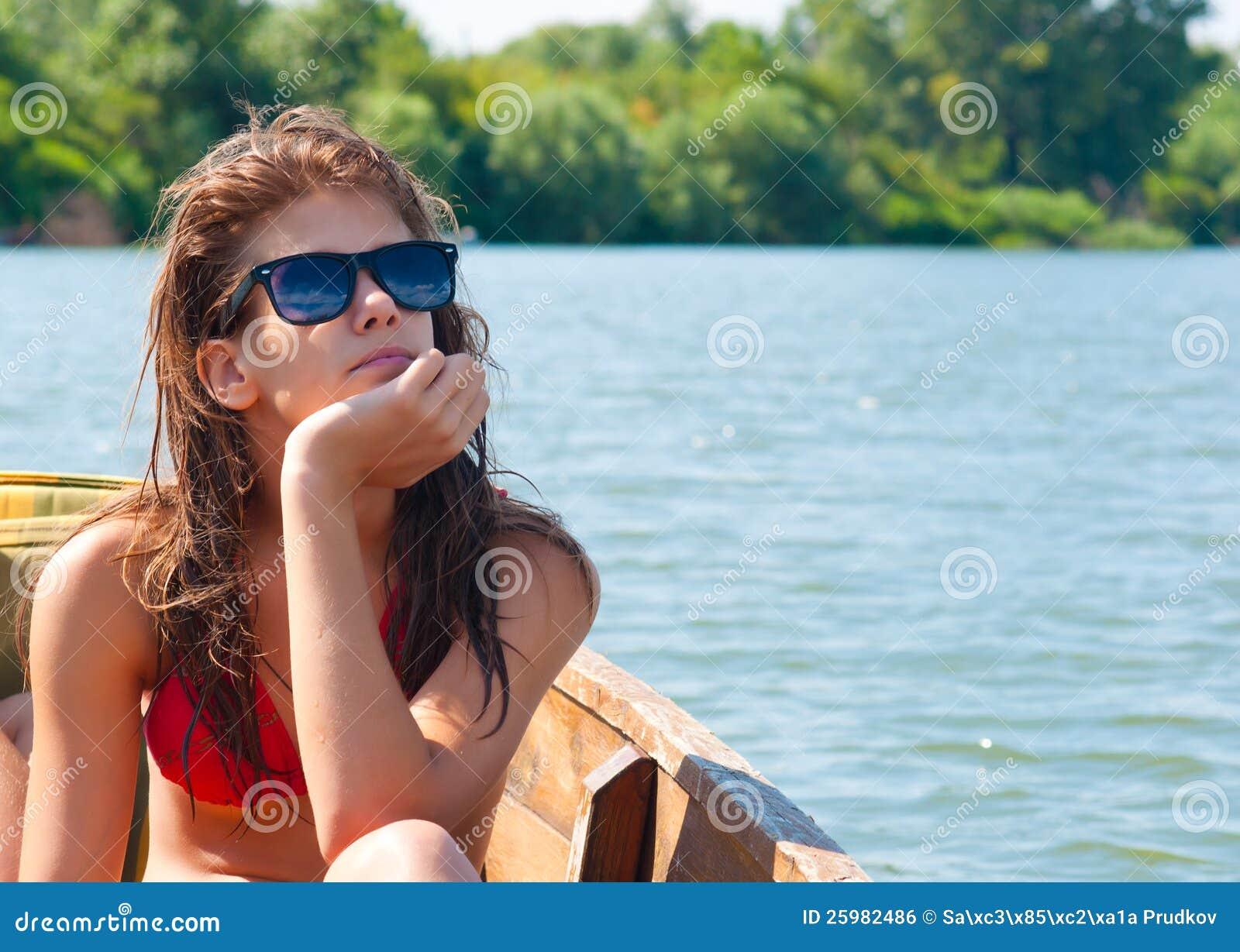 sweet teenage girl sunbathing