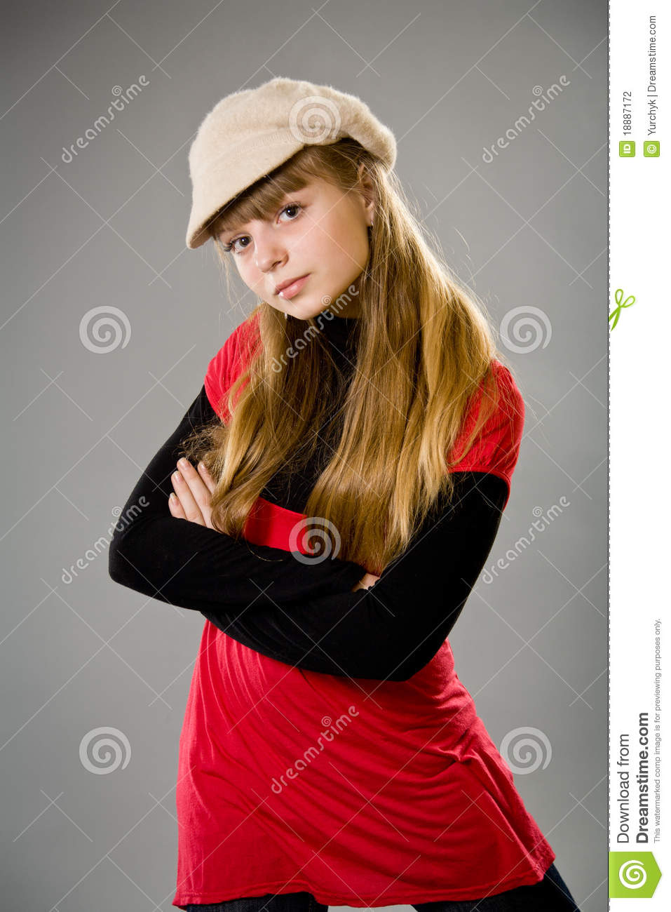 Cute Teenage Girl Wearing A Beret Stock Photography