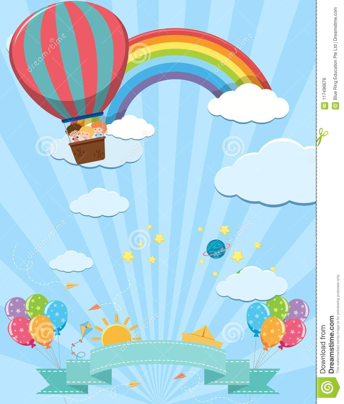 Cute Template With Kids On Hot Air Balloon Stock Vector ...