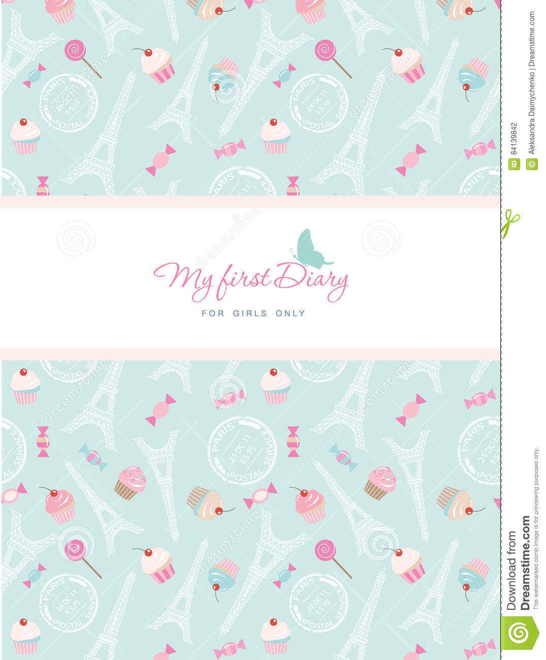Cute Template For Notebook Cover For Girls My First Diary – Diary Paper Template