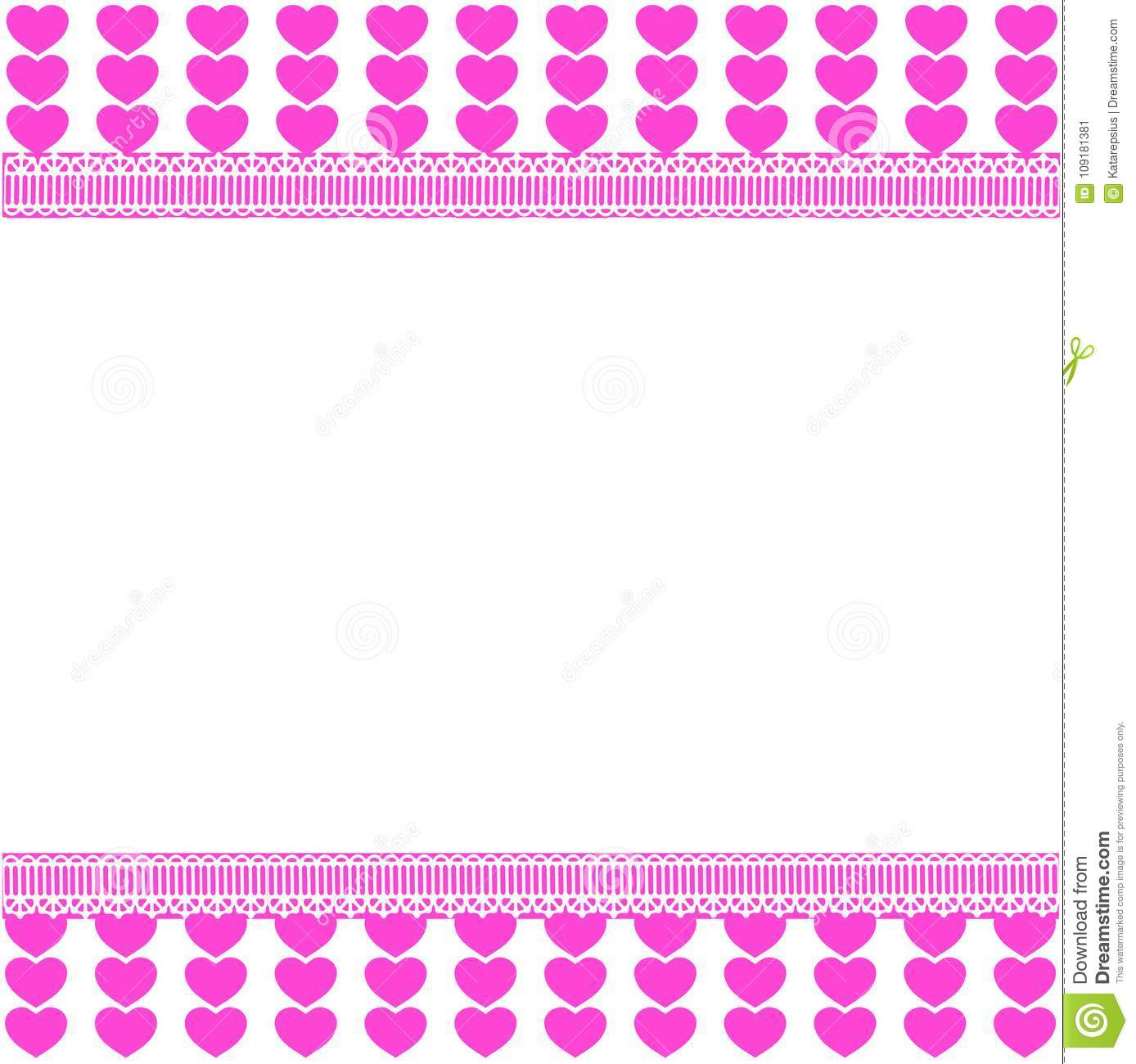 cute template with pink lined hearts pattern on white background