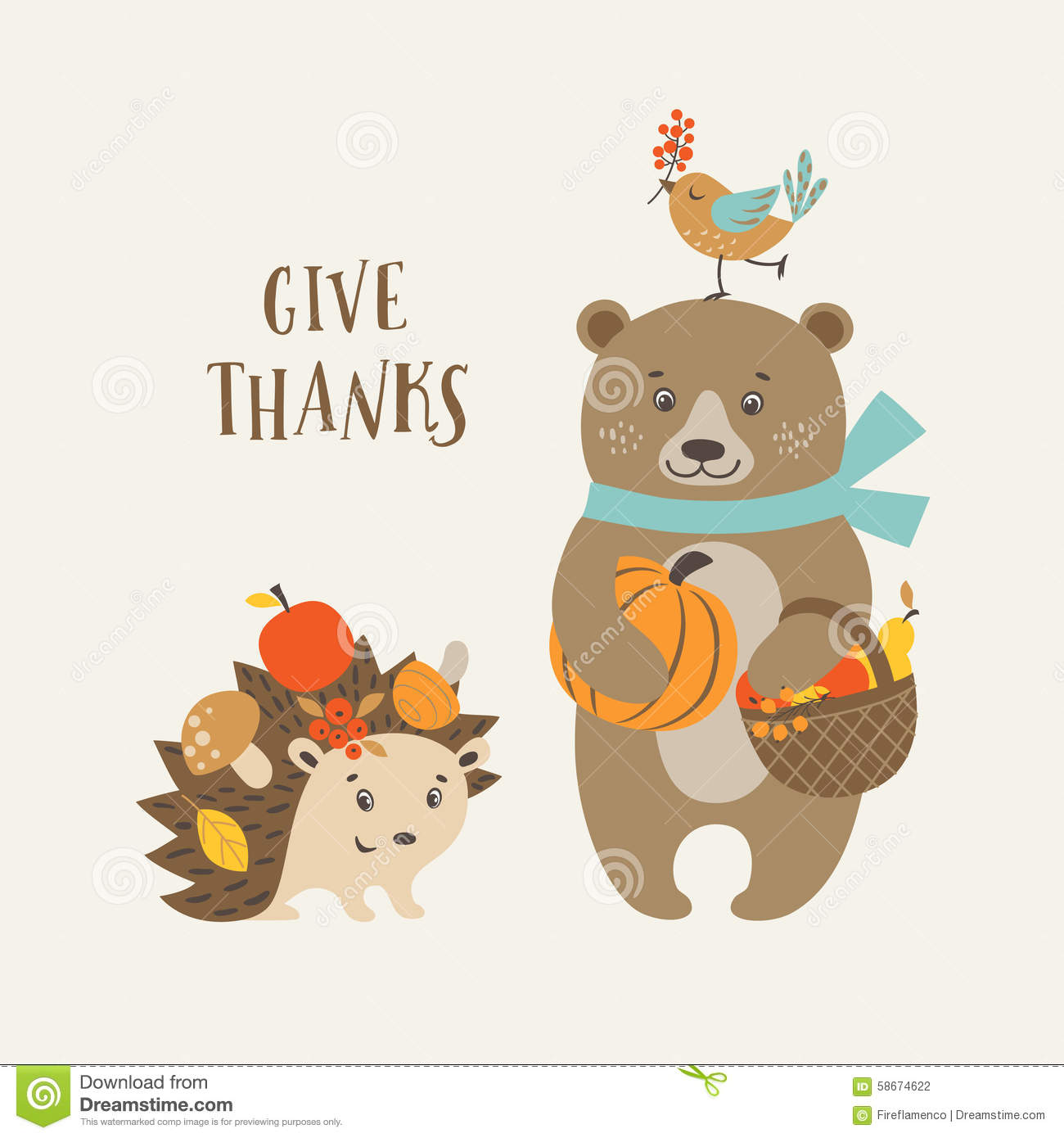 Cute Thanksgiving Card Stock Vector Illustration Of Design 58674622