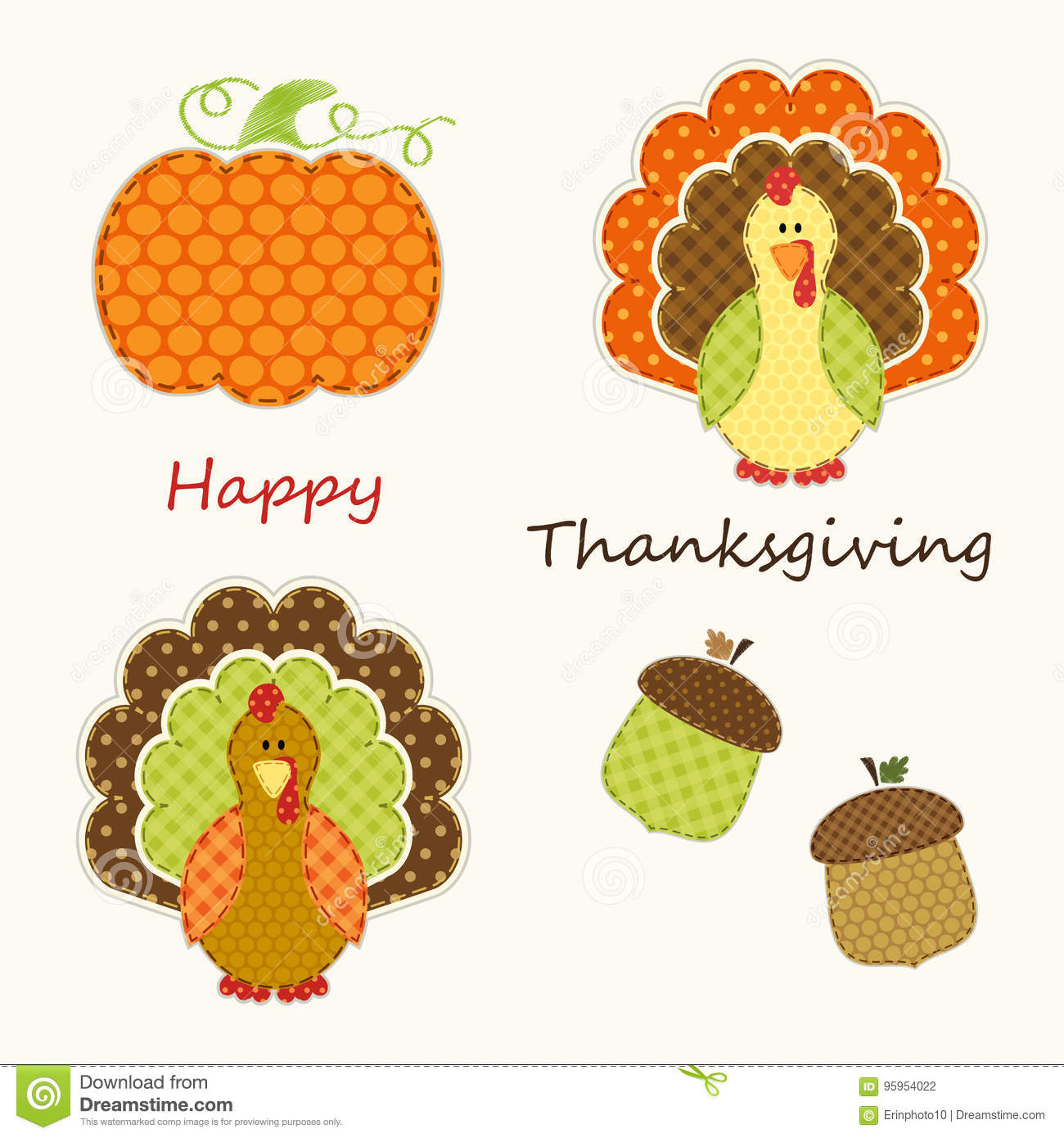Cute thanksgiving elements as retro fabric applique in traditional cute thanksgiving elements as retro fabric applique in traditional colors m4hsunfo