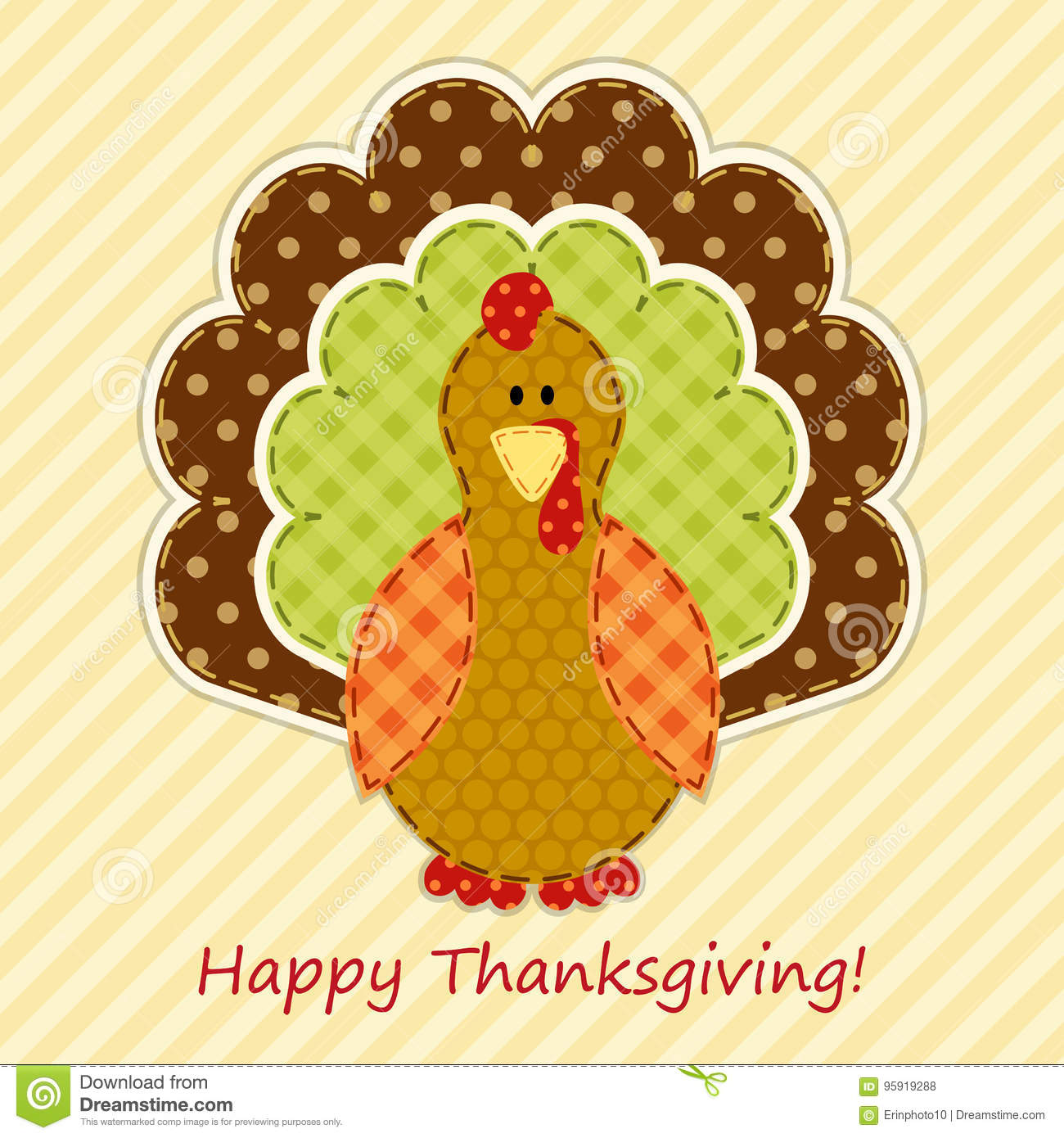 Cute thanksgiving turkey as retro fabric applique in traditional cute thanksgiving turkey as retro fabric applique in traditional colors ideal as thanksgiving greeting card m4hsunfo