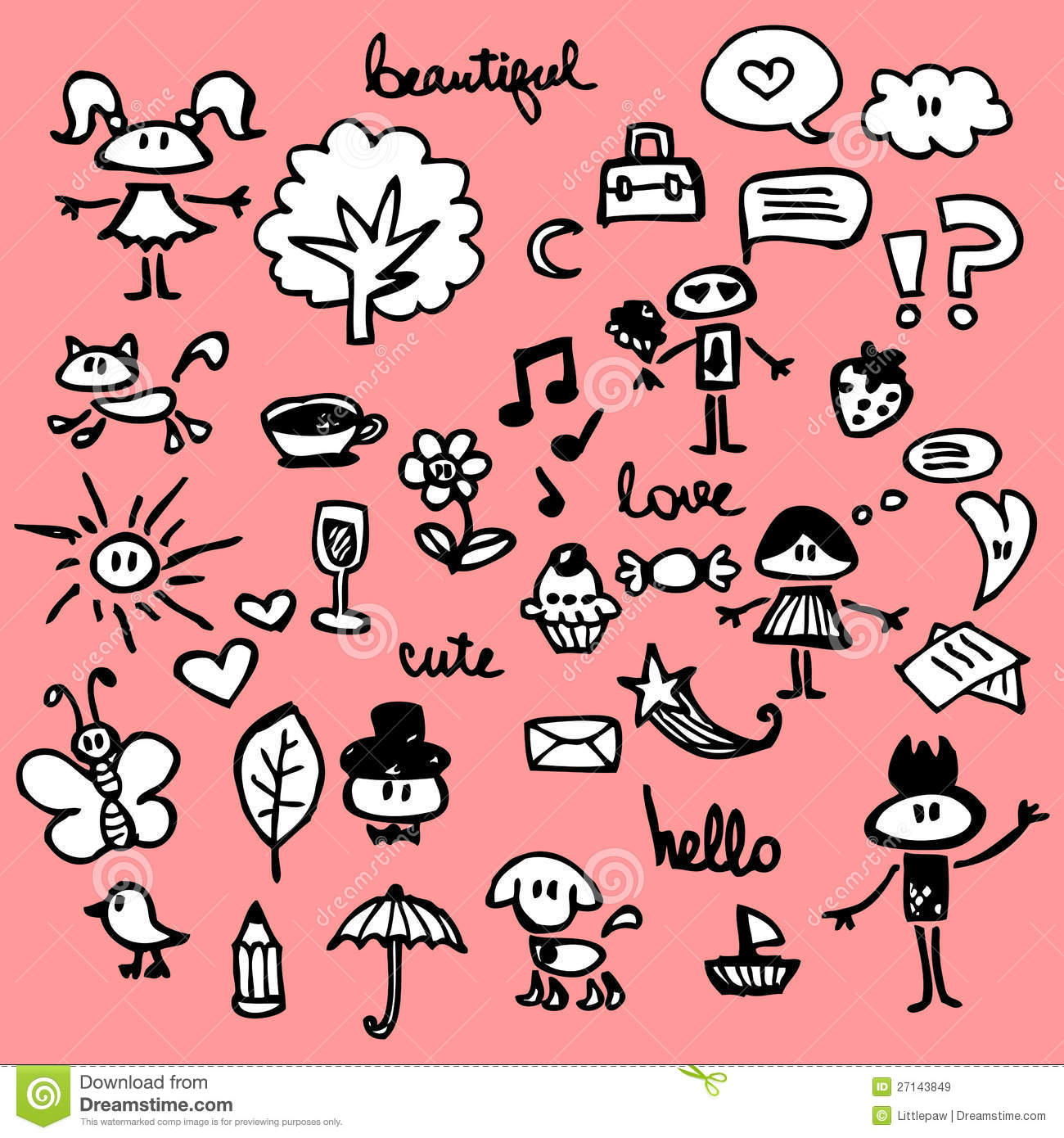 Cute Things Set Royalty Free Stock Images Image 27143849