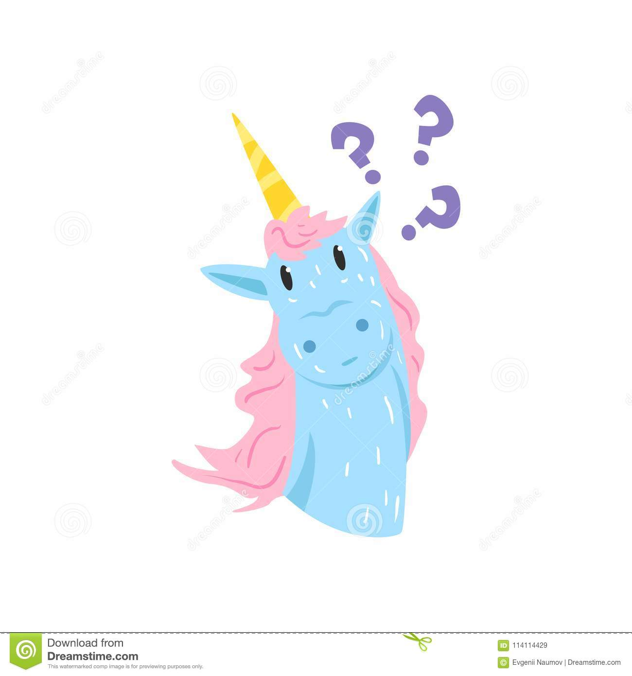 Cute Thinking Unicorn Character, Funny Animal With With A ...