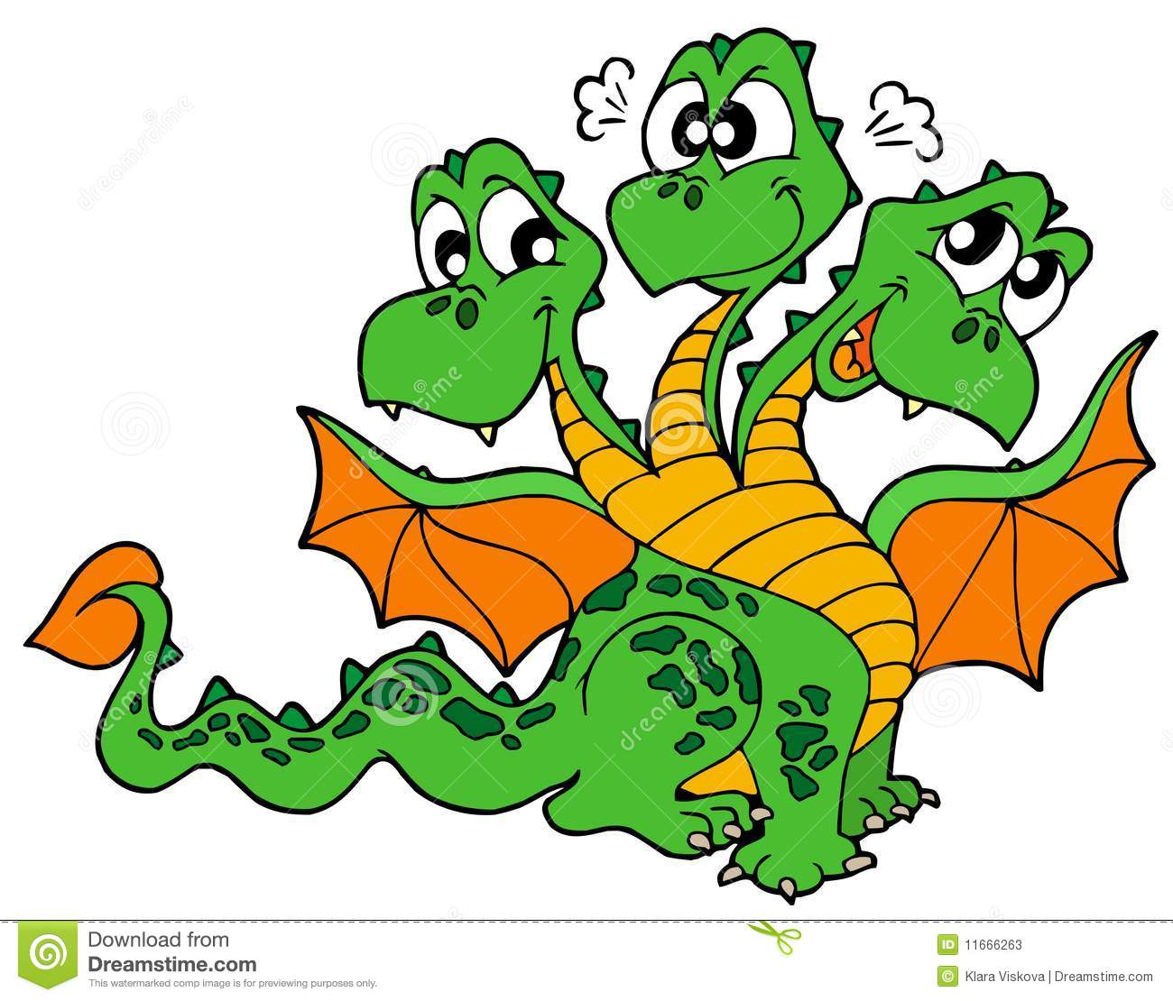 Cute three headed dragon stock vector  Illustration of