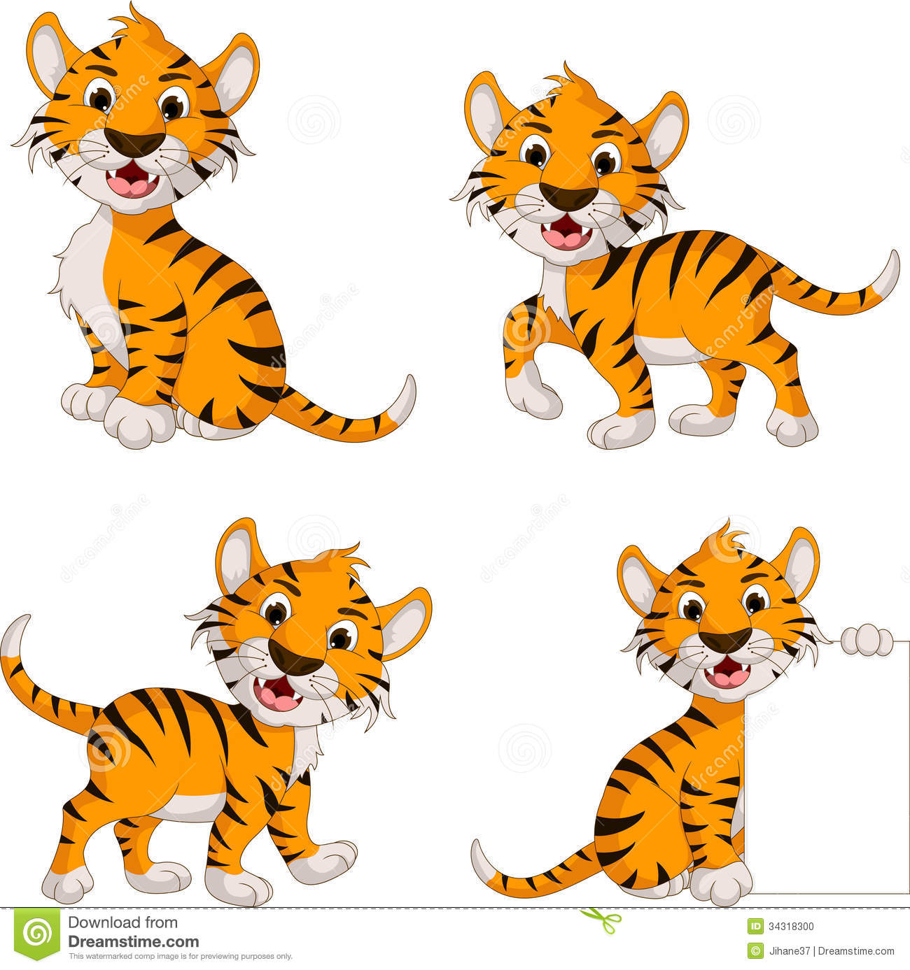 Cute Tiger Cartoon Collection Stock Illustration ...