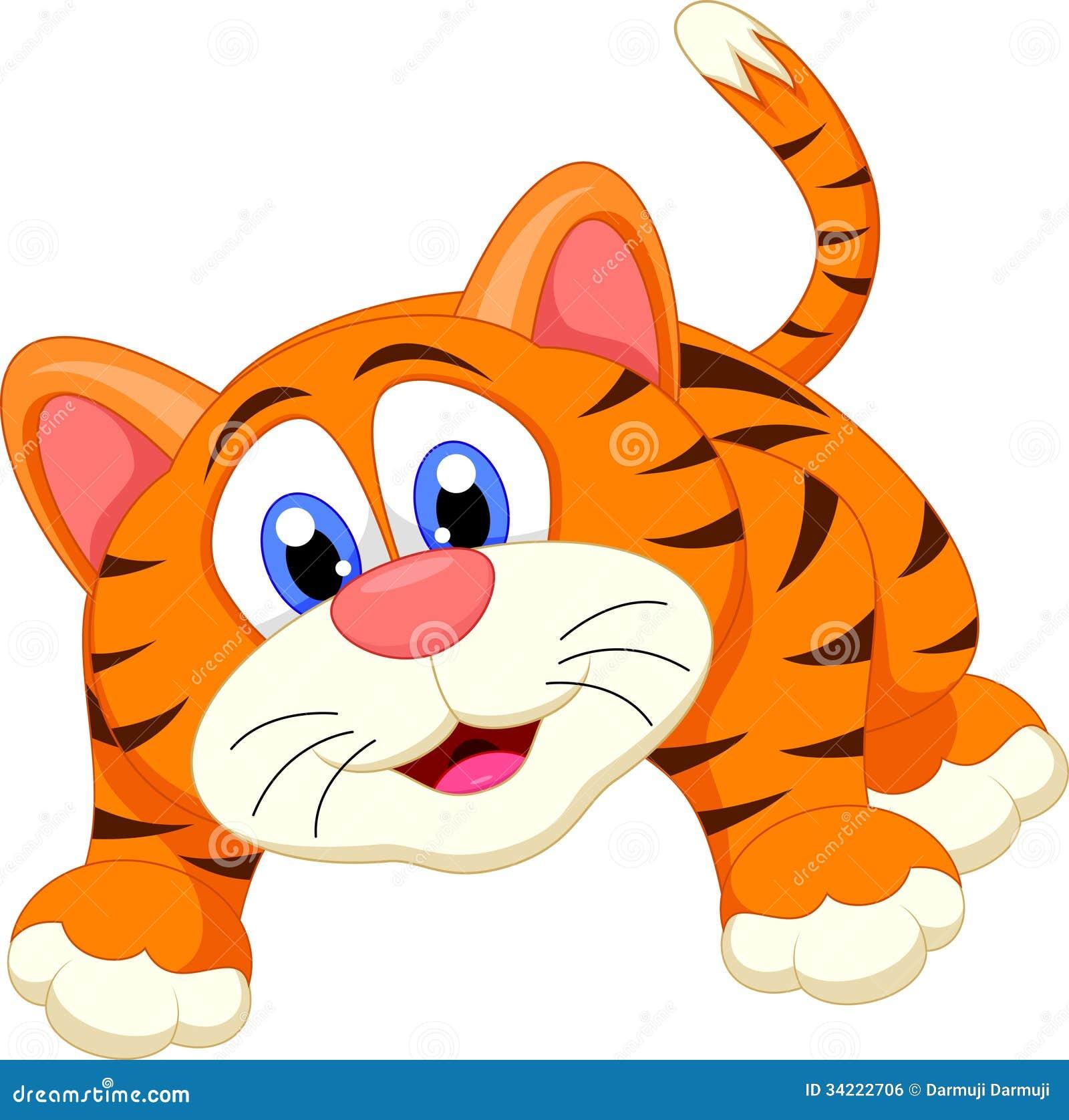 Cute tiger cartoon stock illustration image of
