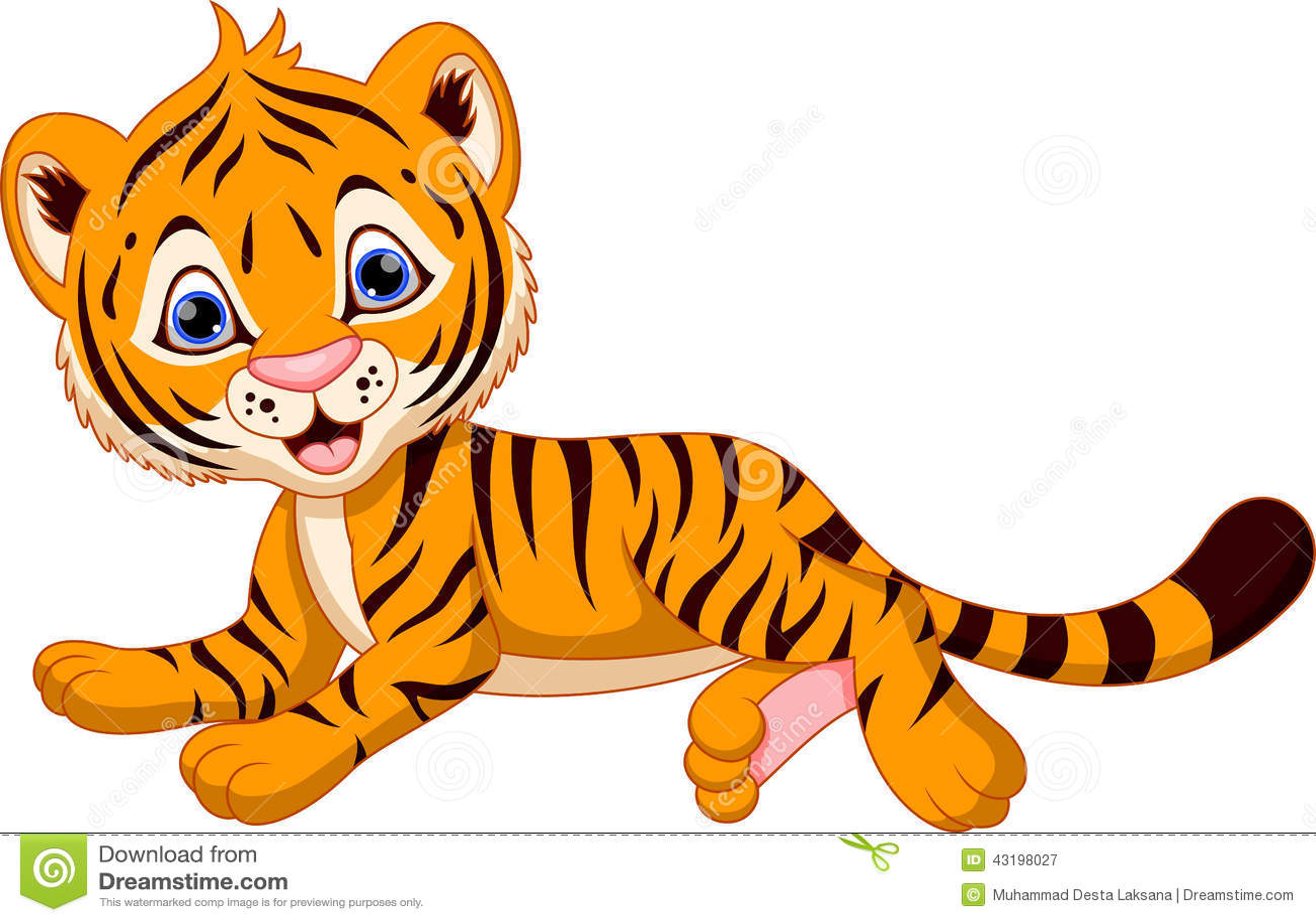 Tigre Gifs Animado: Cute Tiger Cartoon Stock Illustration. Illustration Of