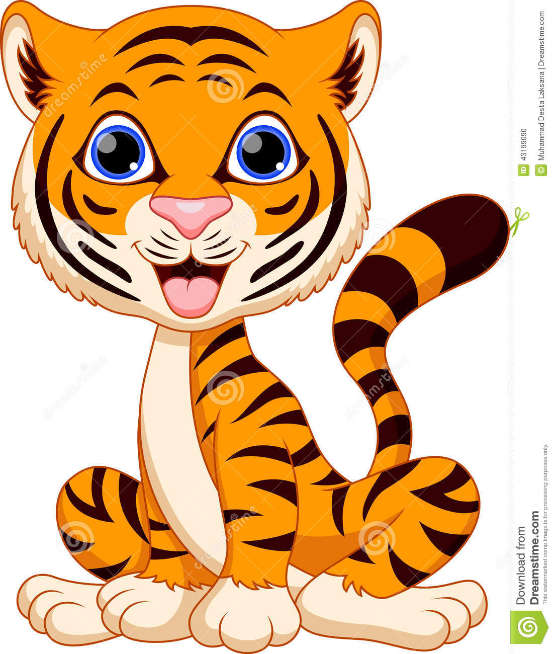 Cute Tiger Cartoon Stock Illustration - Image: 43199090