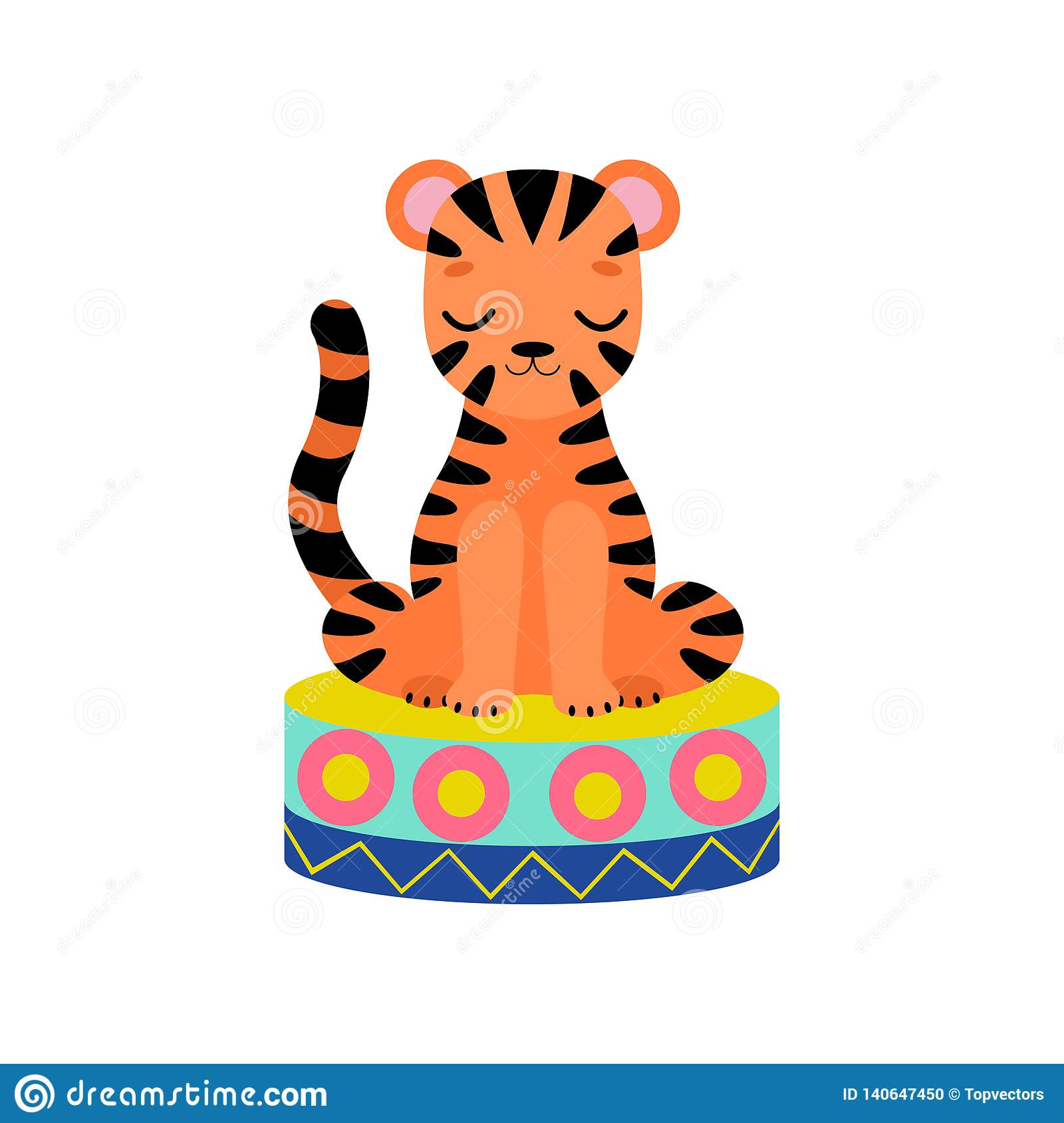 Cute Tiger Cub Sitting on Stage, Funny Animal Performing in Circus Show Vector Illustration