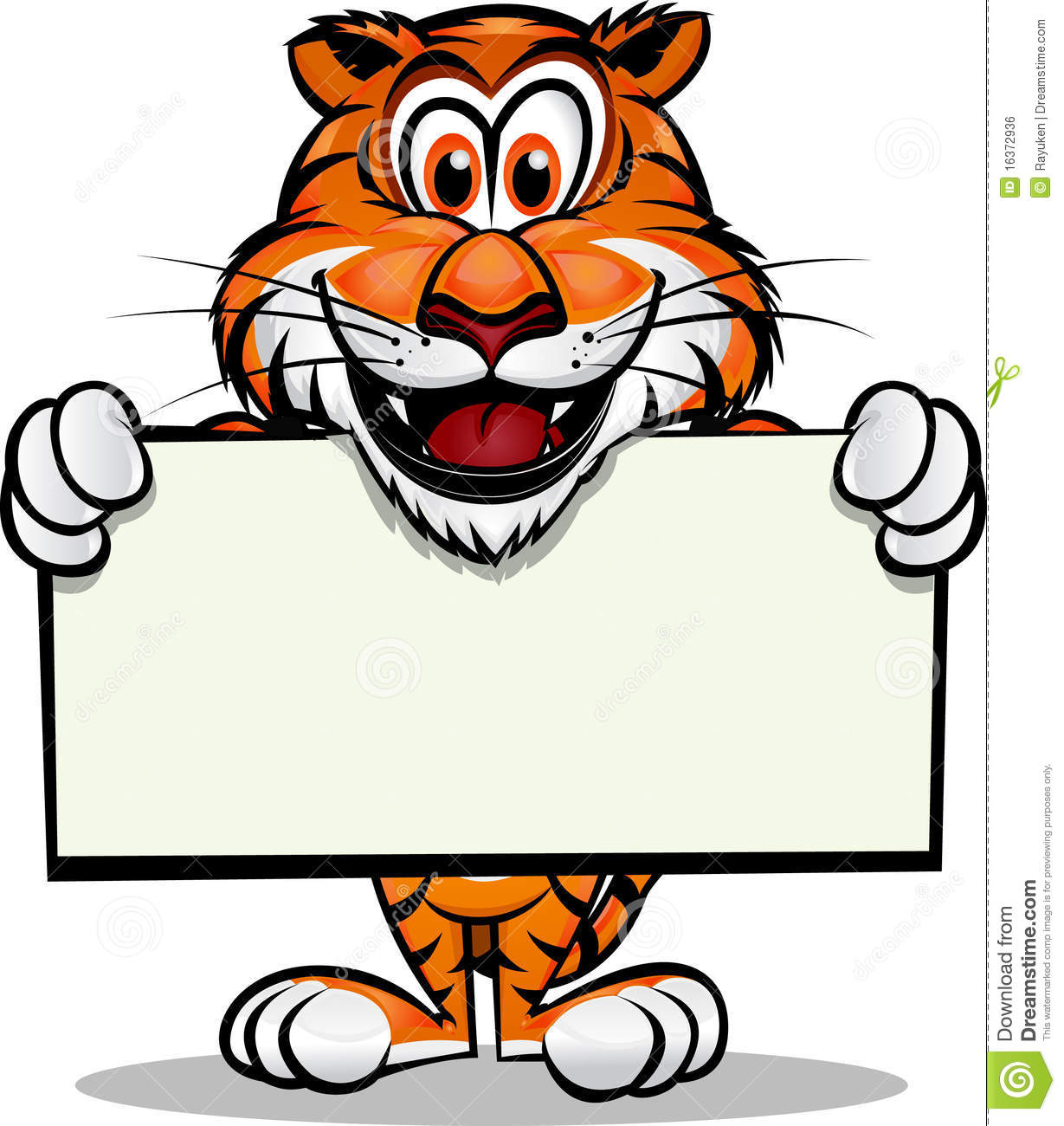 Cute Tiger Holding Sign Royalty Free Stock Image - Image: 16372936