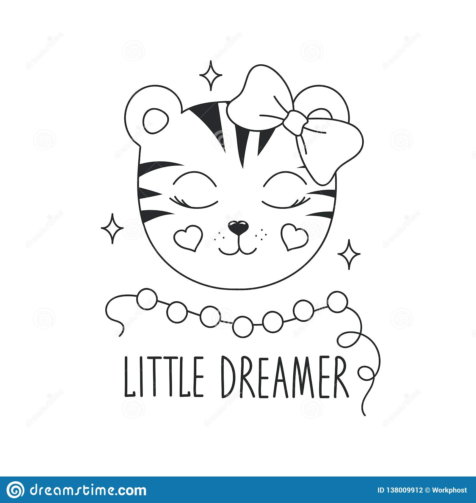 Cute Tiger Illustration Little Dreamer Text Design For Kids Fashion Illustration Drawing In Modern Style For Clothes Girlish Stock Illustration Illustration Of Cute Coloring 138009912