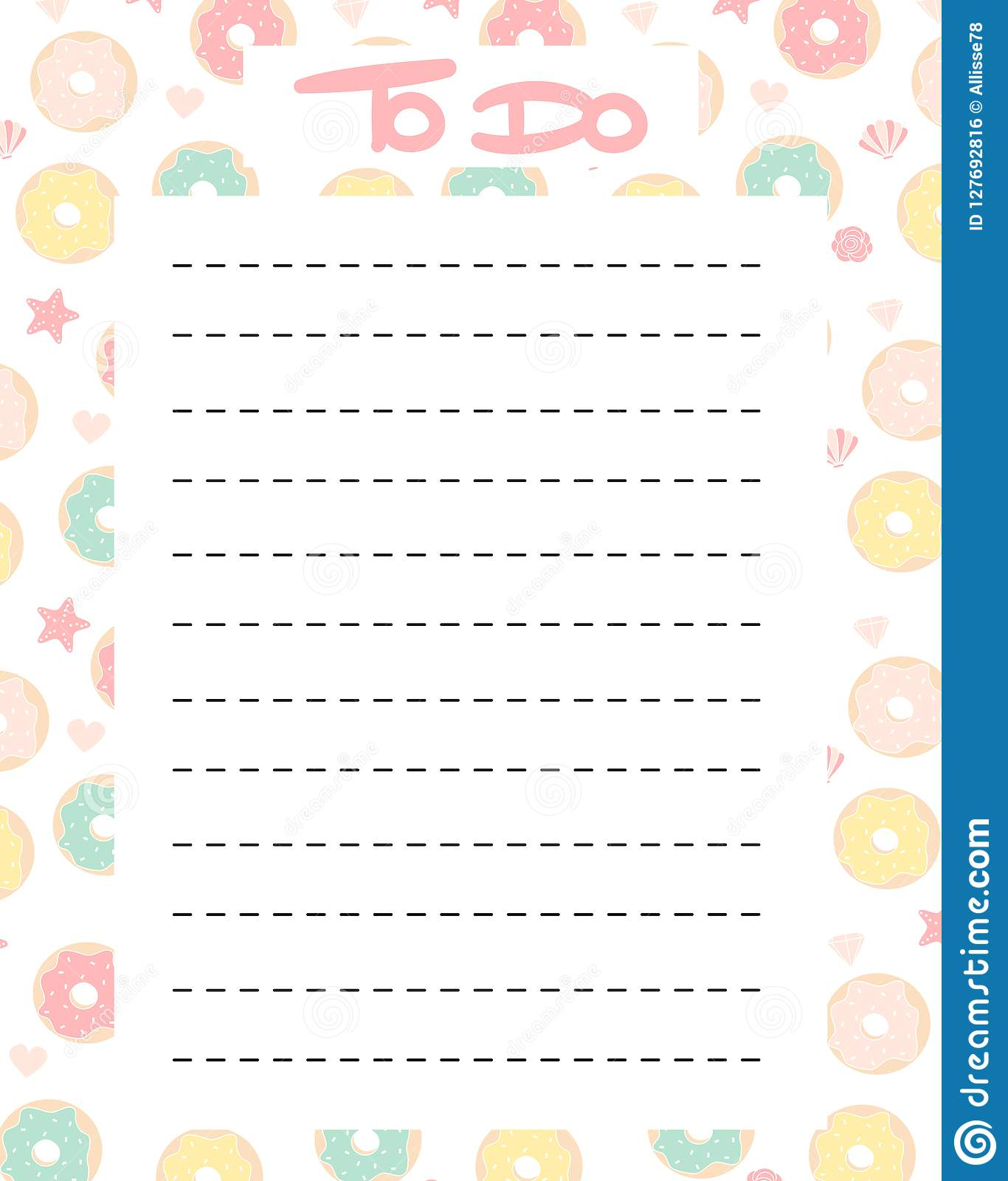 graphic regarding Printable to Do List Cute identify Adorable Towards Do Listing Vector Printable With Colourful Donuts Inventory