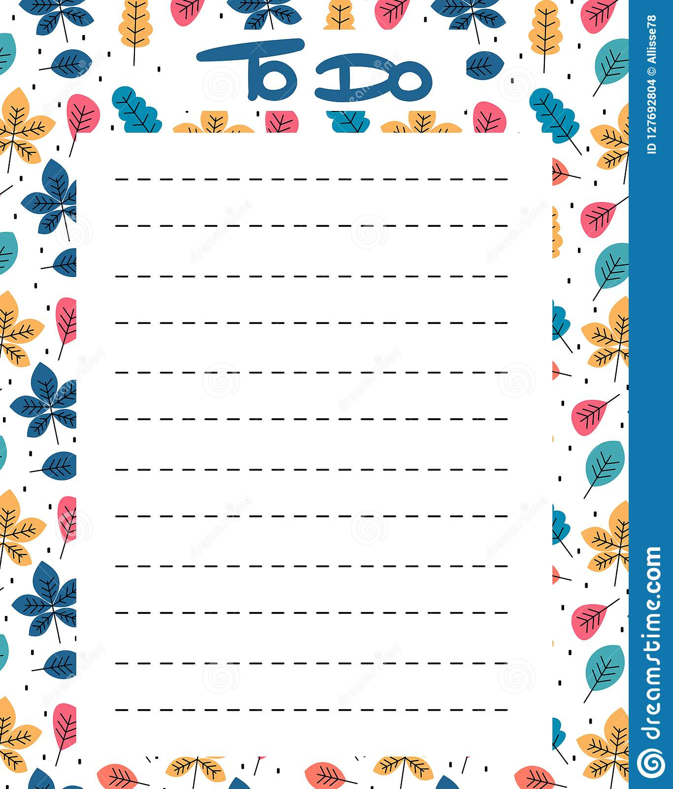 cute to do list vector printable with colorful leaves stock vector