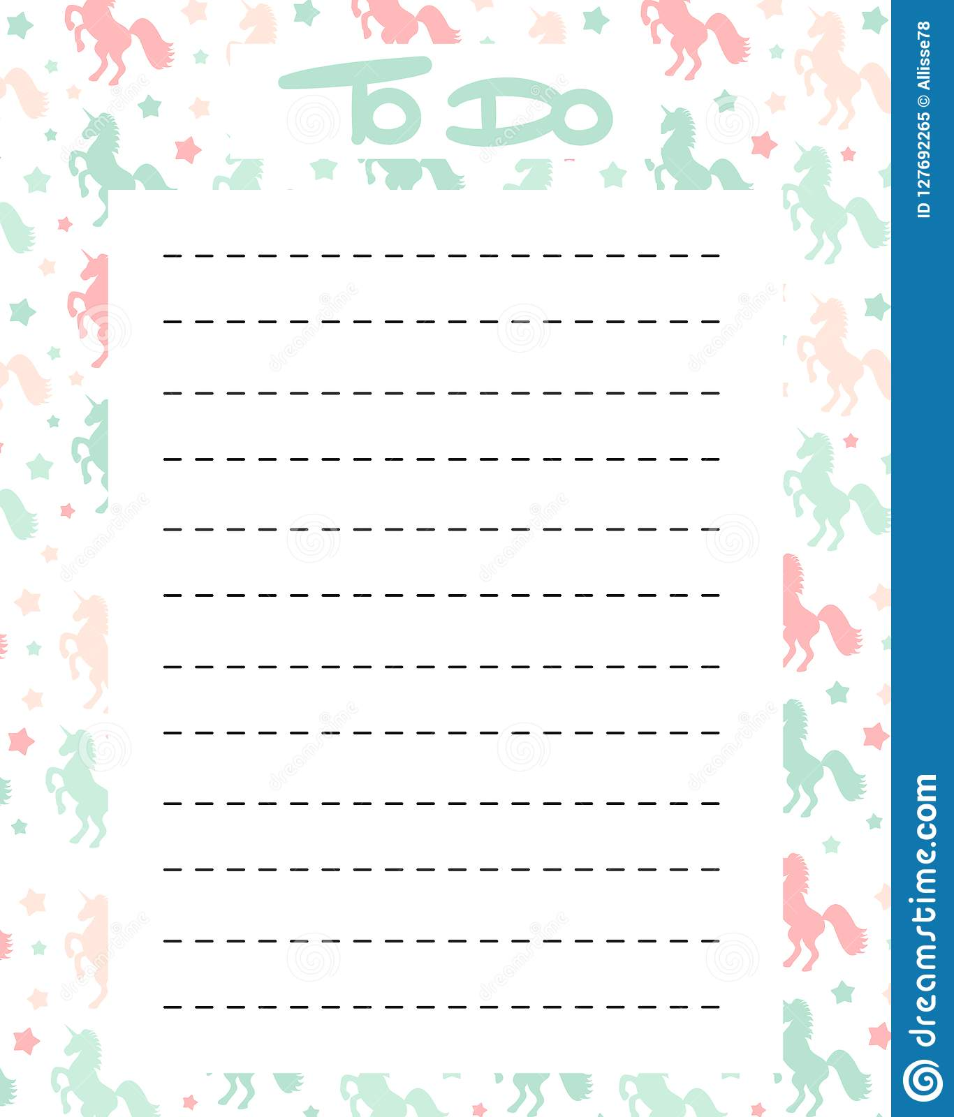 image relating to Cute Printable to Do List named Lovable Towards Do Checklist Vector Printable With Vibrant Unicorns
