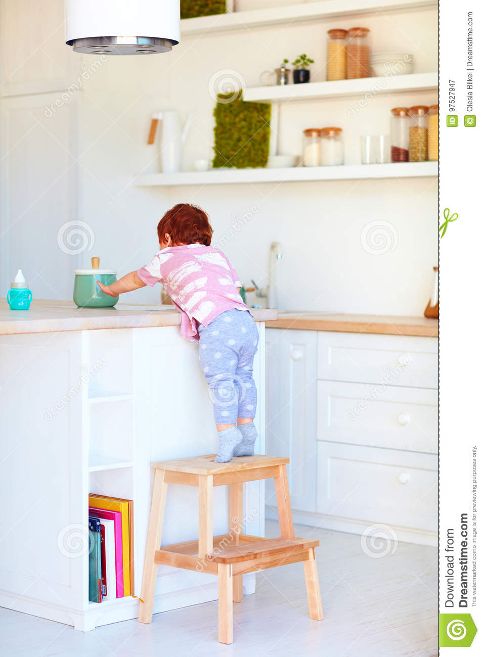 Cool Cute Toddler Baby Climbs On Step Stool Trying To Reach Theyellowbook Wood Chair Design Ideas Theyellowbookinfo