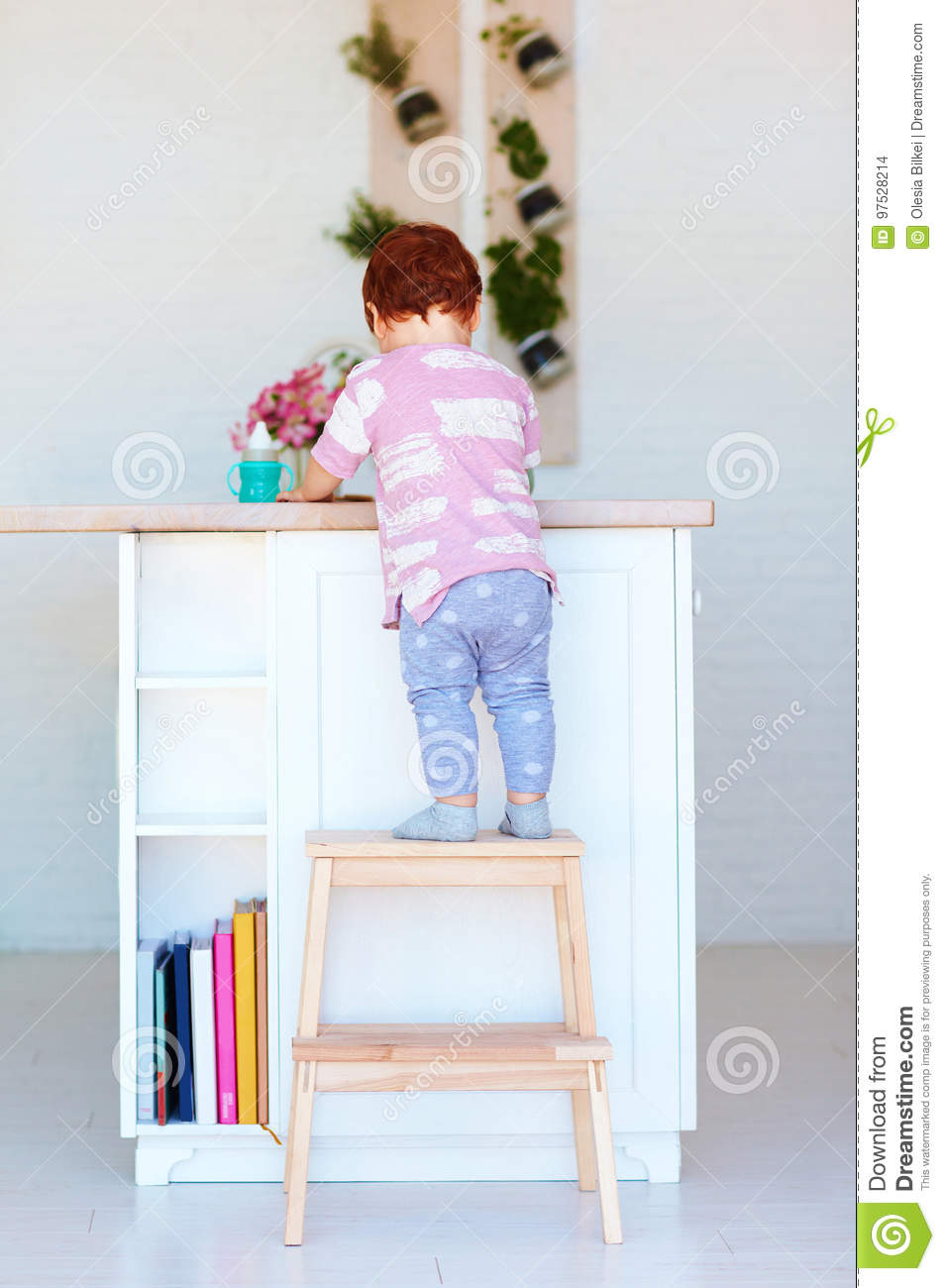 Swell Cute Toddler Baby Climbs On Step Stool Trying To Reach Theyellowbook Wood Chair Design Ideas Theyellowbookinfo