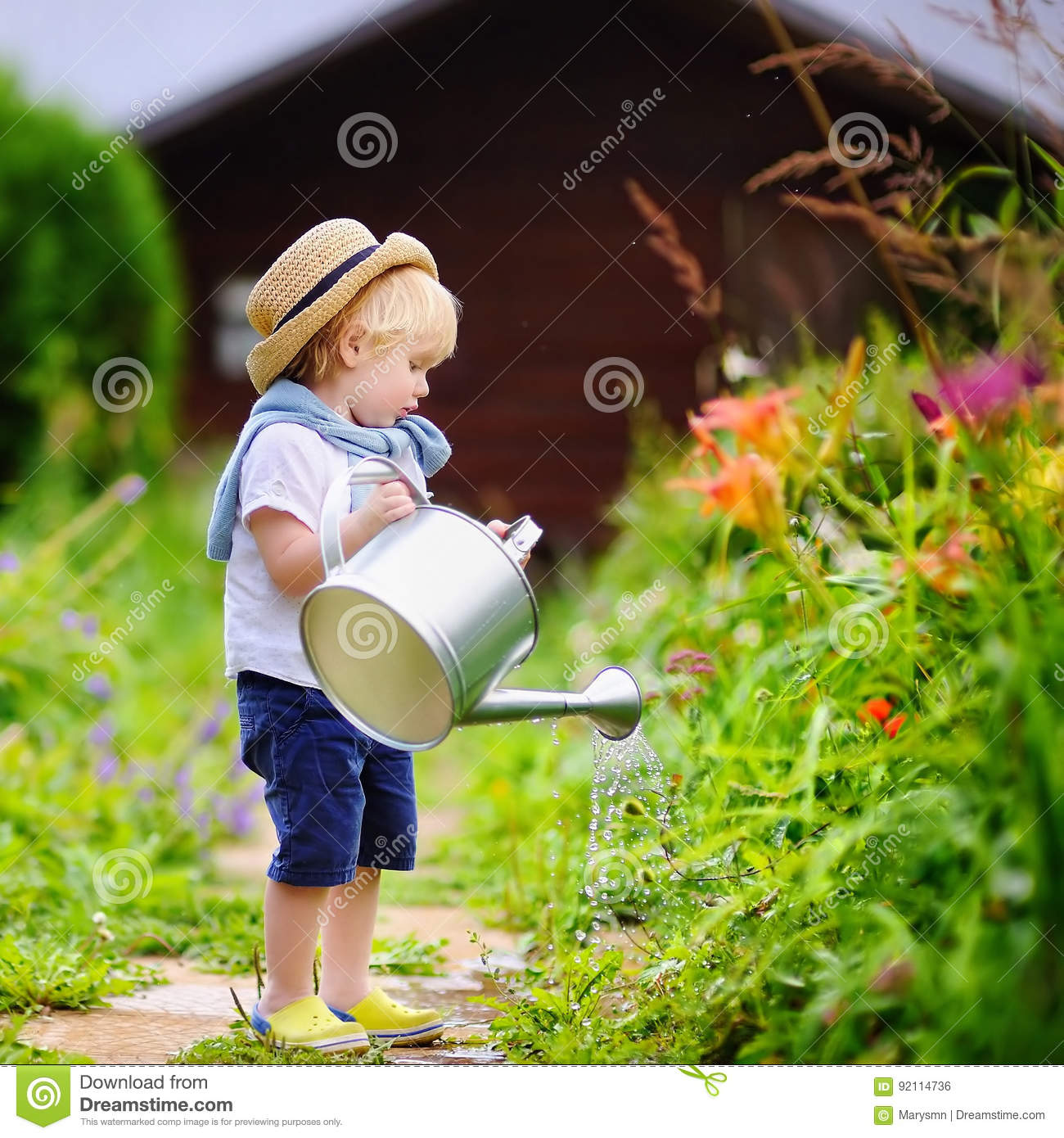 Cute Toddler Boy In Straw Hat Watering Plants Stock Photo - Image of ... 635eab6c6a20
