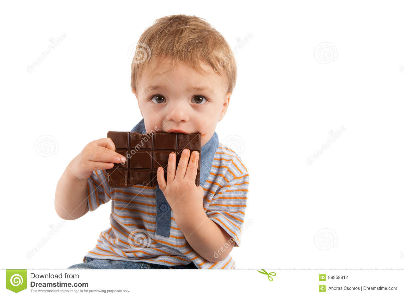Cute Toddler Eating His Big Chocolate Bar Stock Photo - Image ...