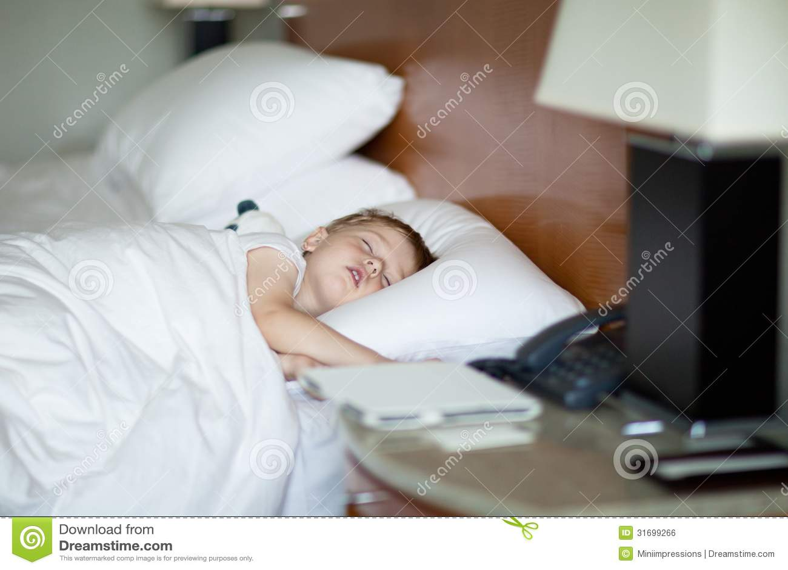 Cute Toddler Taking Nap Hotel Stock Image Calm