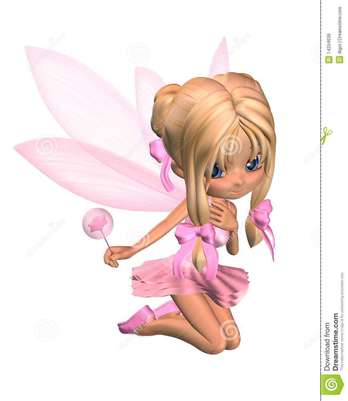 Cute Toon Ballerina Fairy In Pink Kneeling Royalty Free