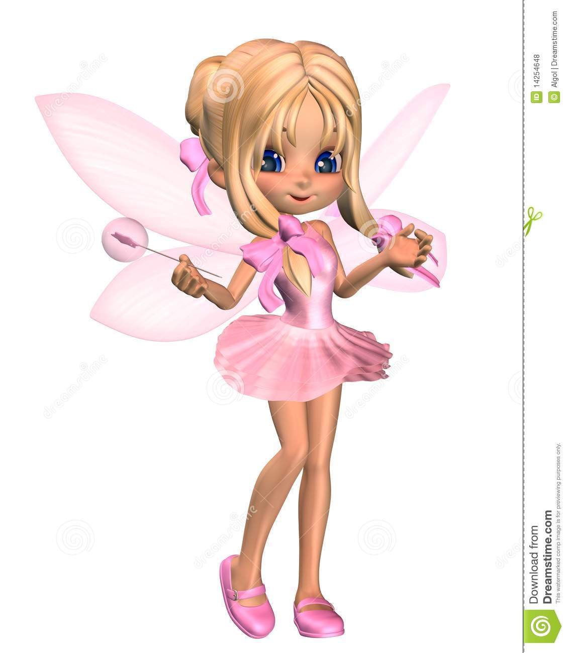 cute toon ballerina fairy in pink standing royalty free stock