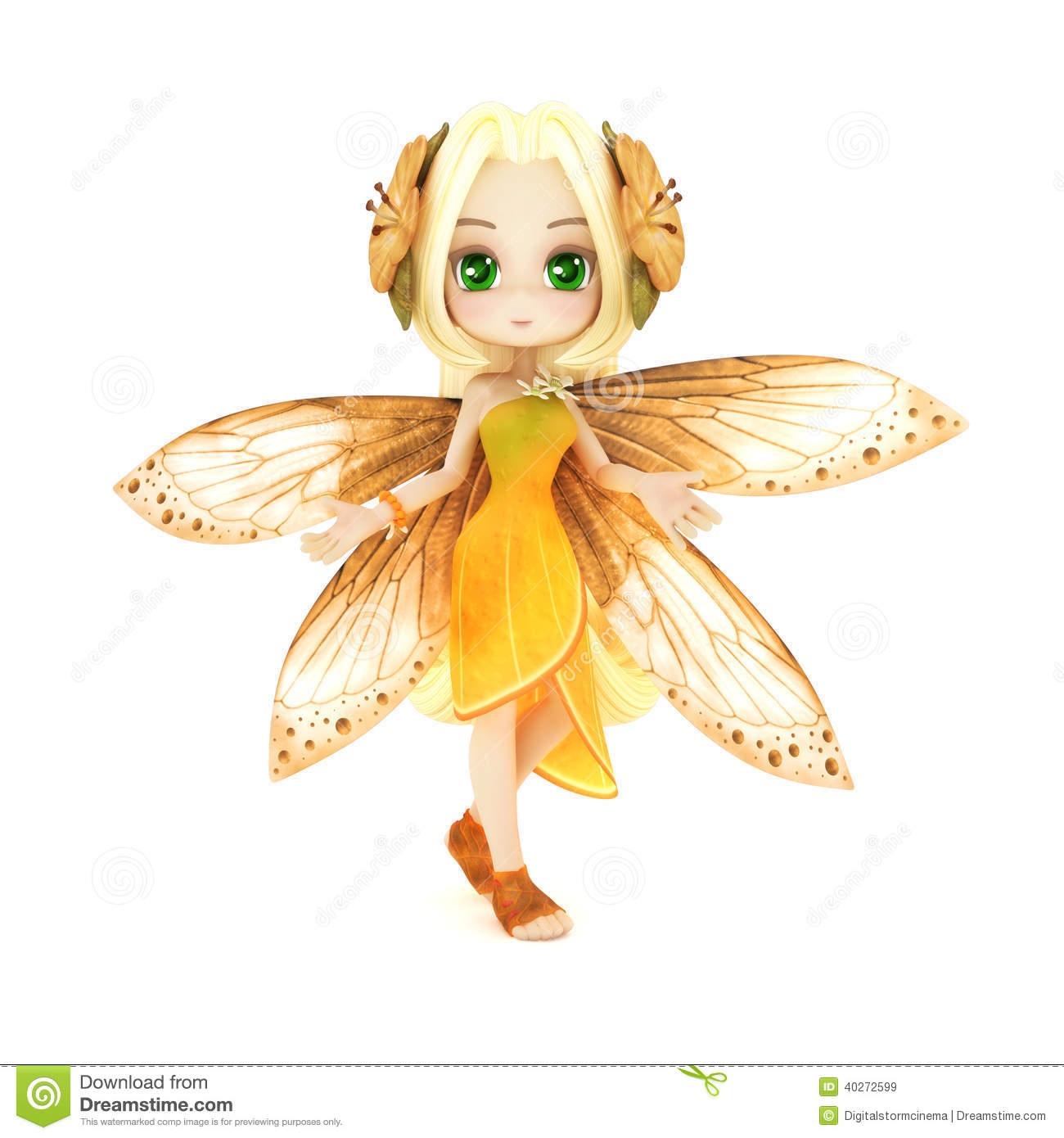 Cute Toon Fairy Posing Stock Illustration Image 40272599