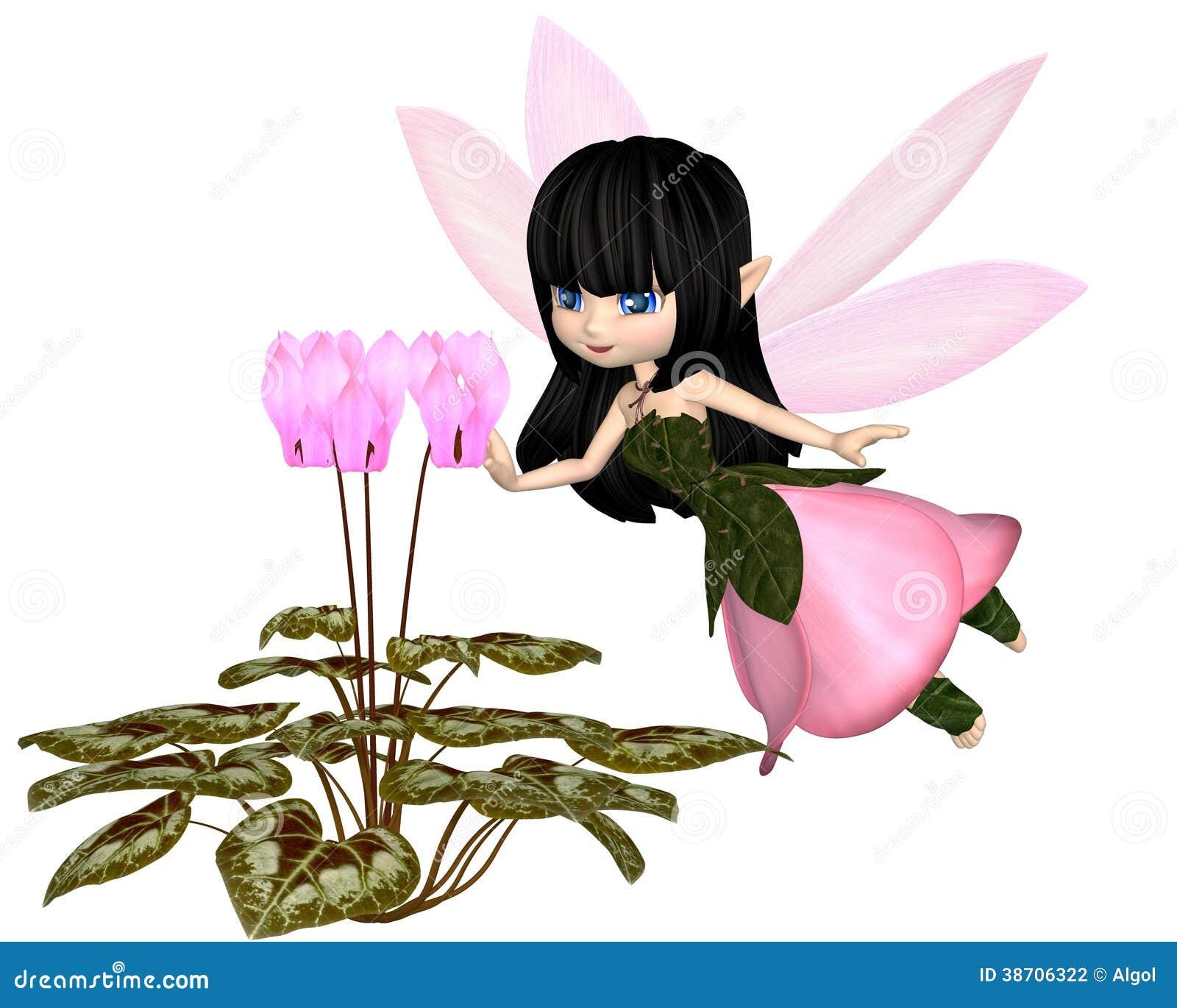Cute Toon Pink Cyclamen Fairy, Flying