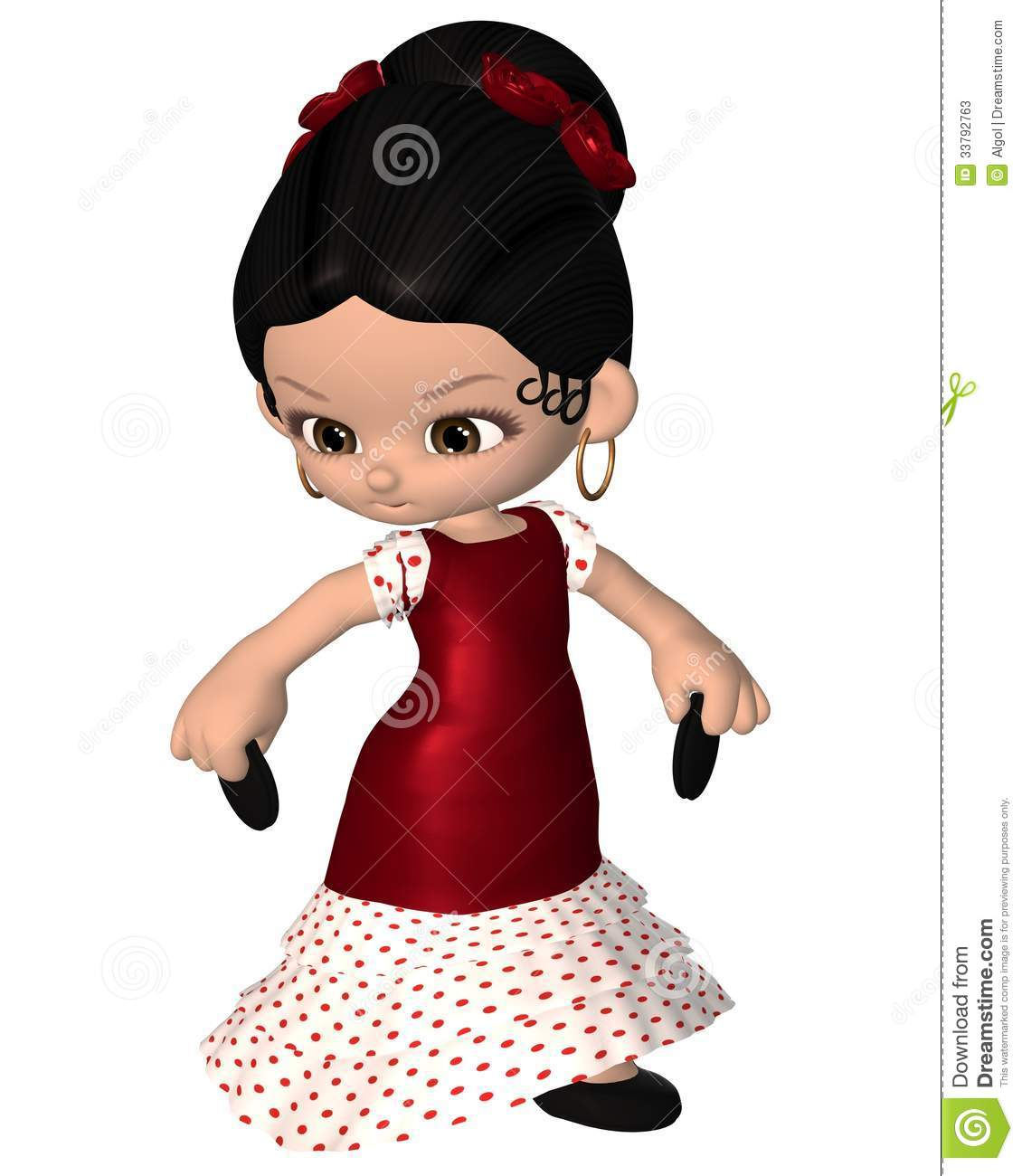 Cute toon Spanish flamenco dancer with castanets and red dress, 3d ...