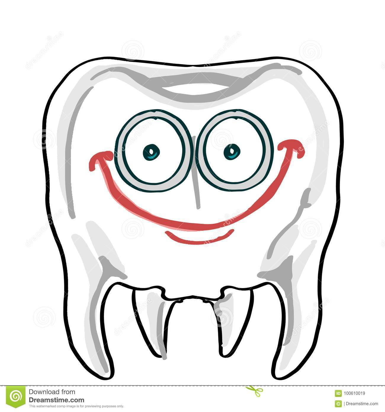 Cute Tooth Illustration Cartoon Drawing Coloring Stock Vector Illustration Of Dental Dentistry 100610019