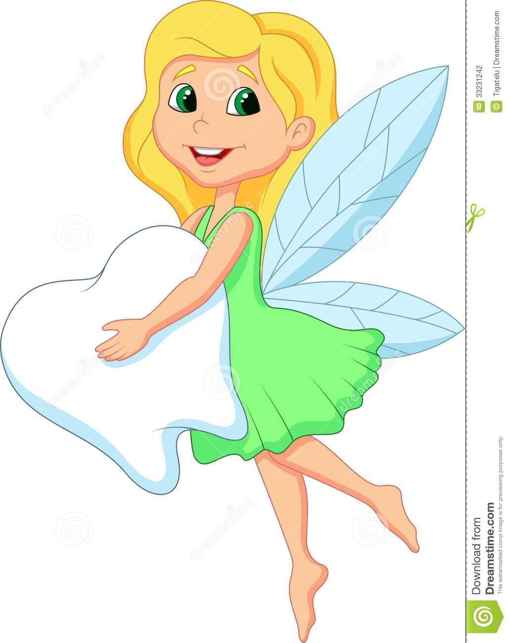 Cute Tooth Fairy flying cartoon with Tooth