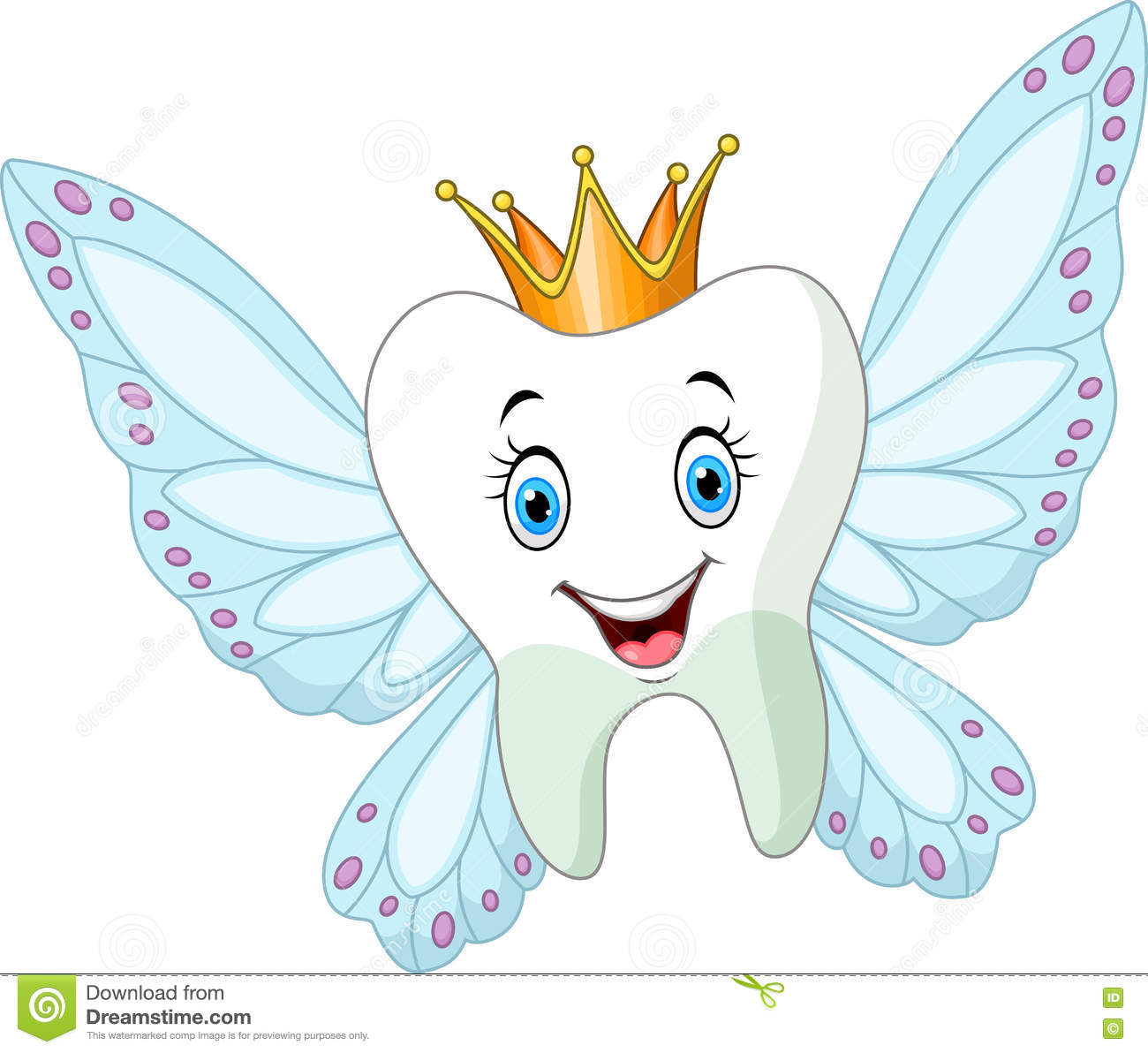 cute tooth fairy flying stock vector image 75440207