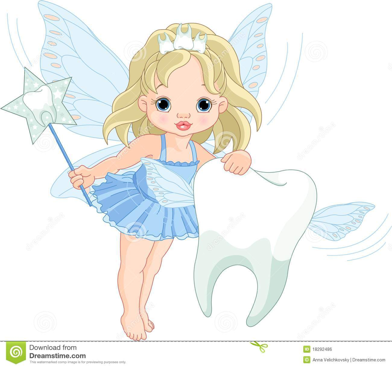 Cute Tooth Fairy Flying With Tooth Royalty Free Stock Image - Image ...