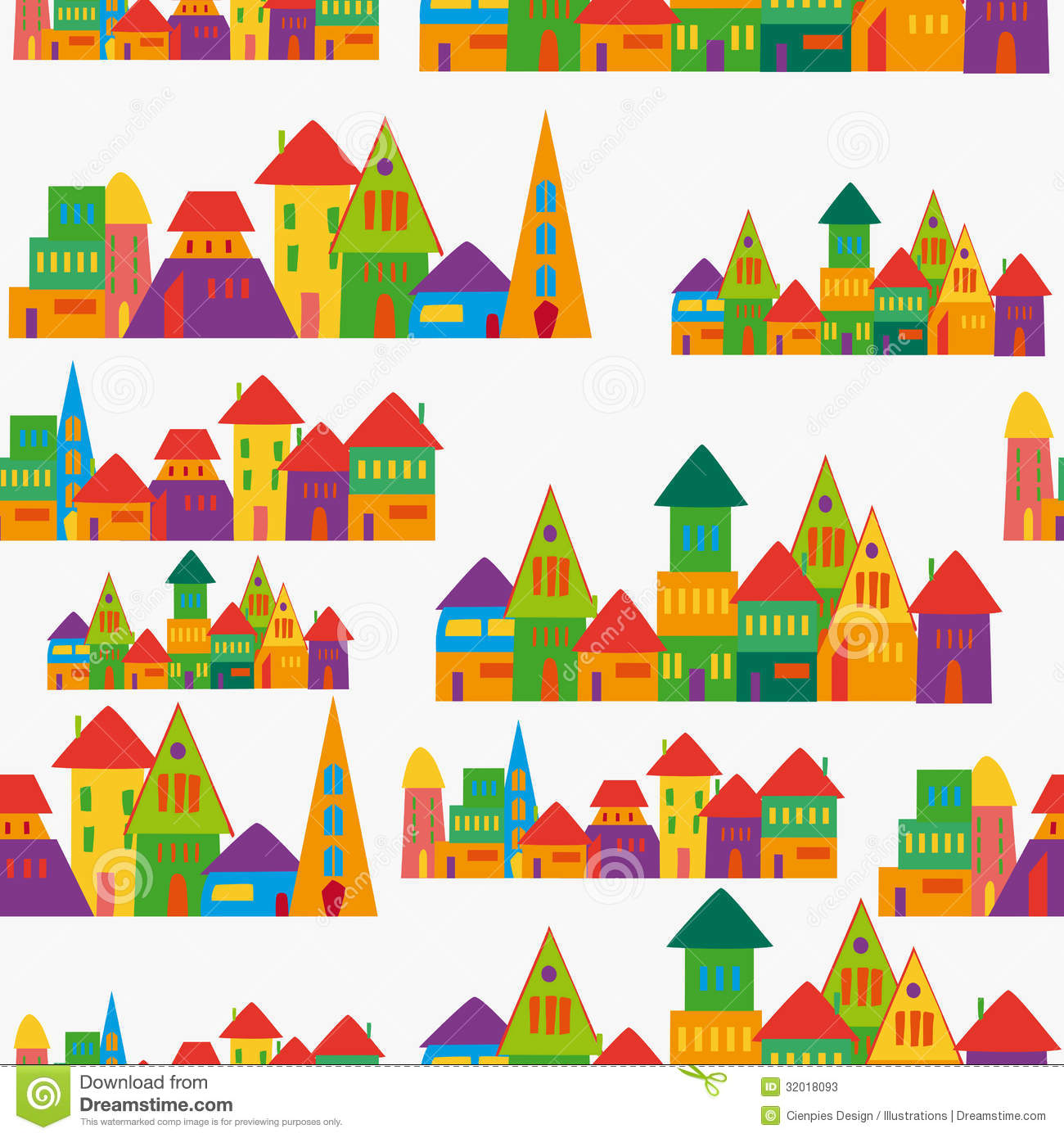 Cute Town Pattern Stock Vector. Illustration Of Green