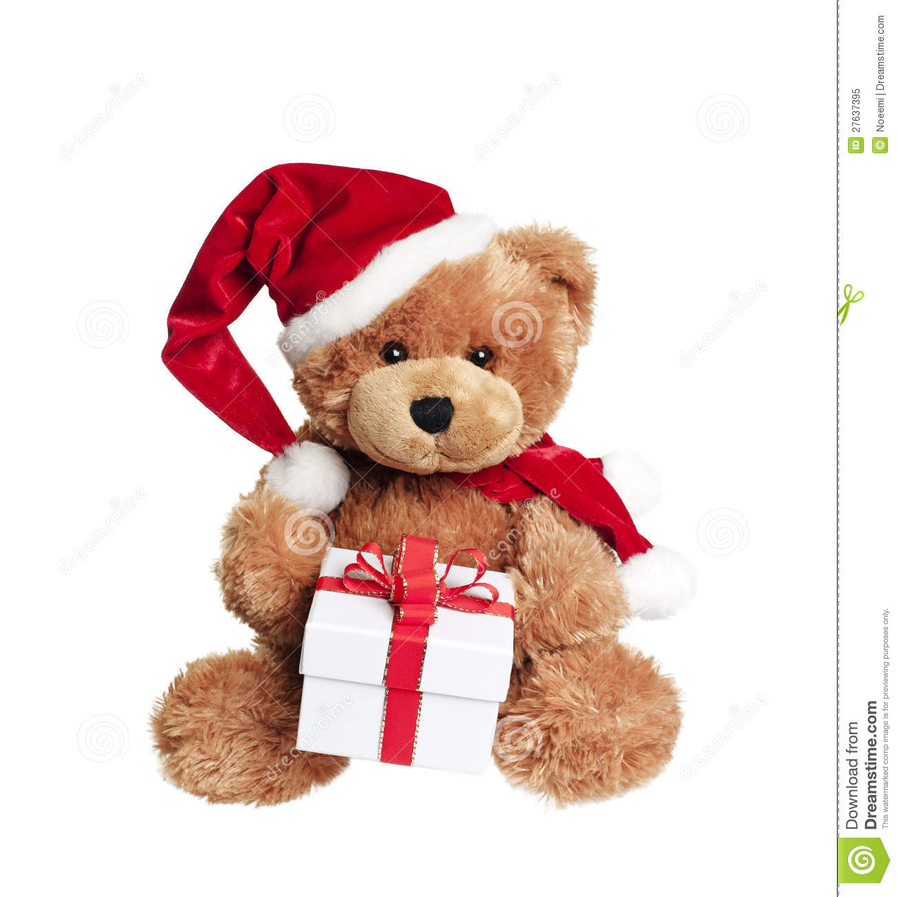 Cute toy bear with christmas gift on white stock image image of christmas card 27637395 - Nounours noel ...